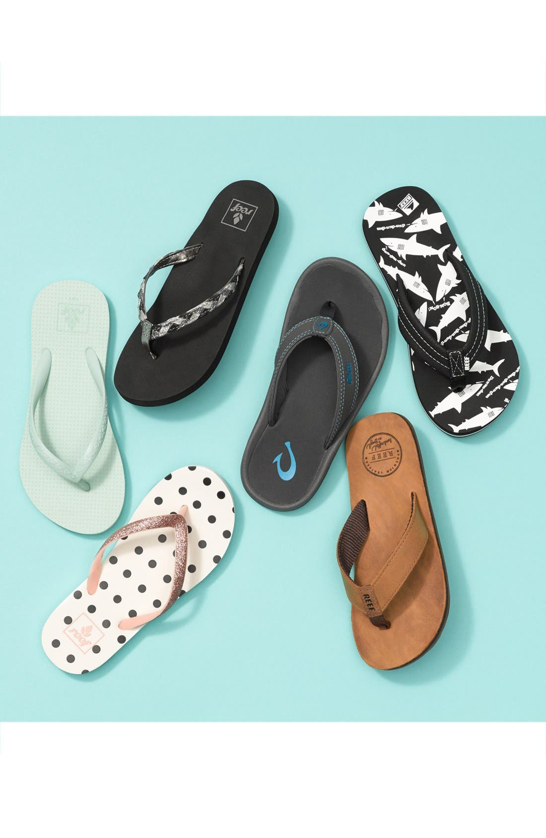 REEF, Little Stargazer Print Flip Flop, Alternate thumbnail 7, color, BLACK
