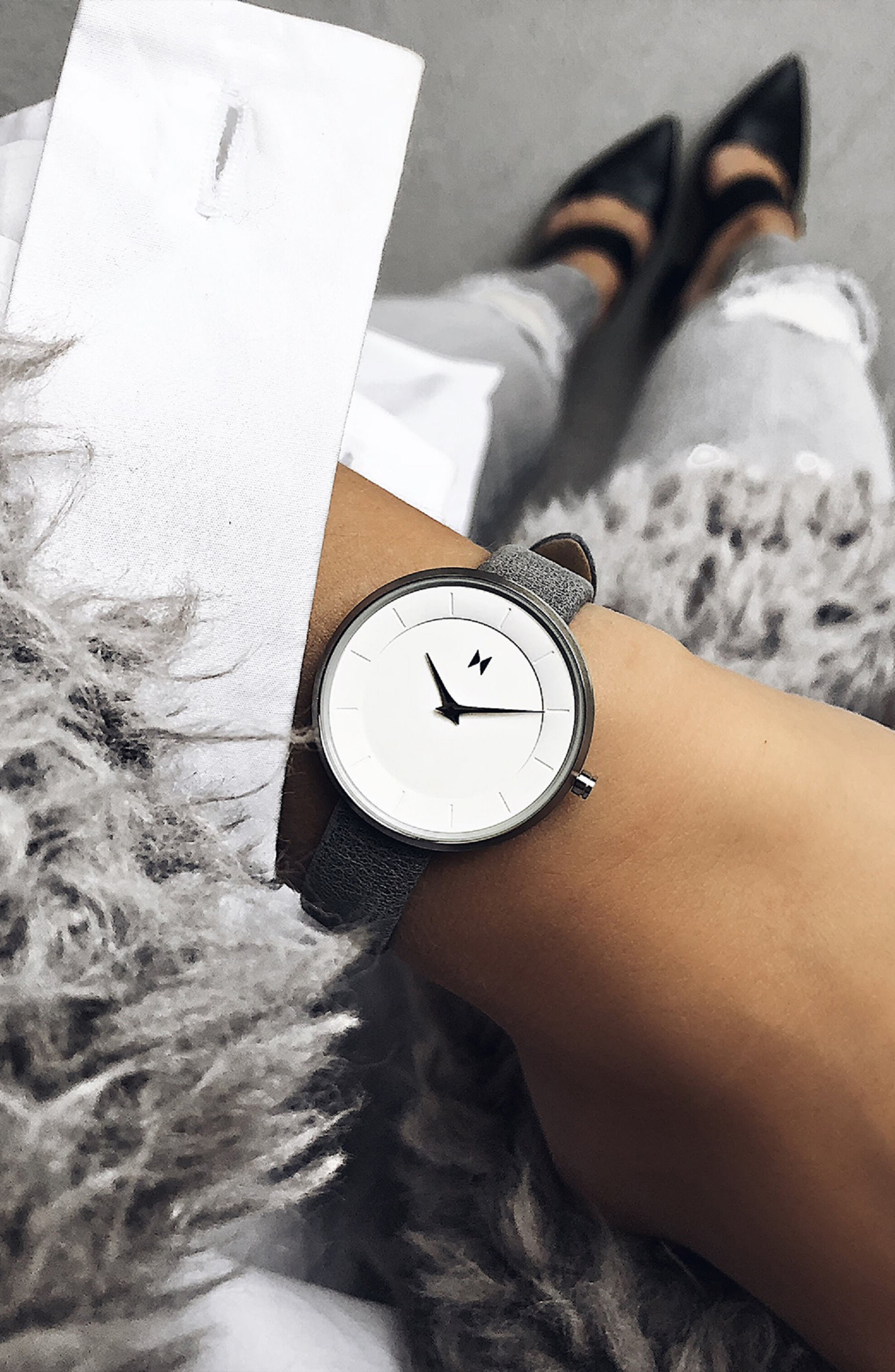 MVMT, Mod Leather Strap Watch, 32mm, Alternate thumbnail 2, color, GREY/ WHITE/ SILVER