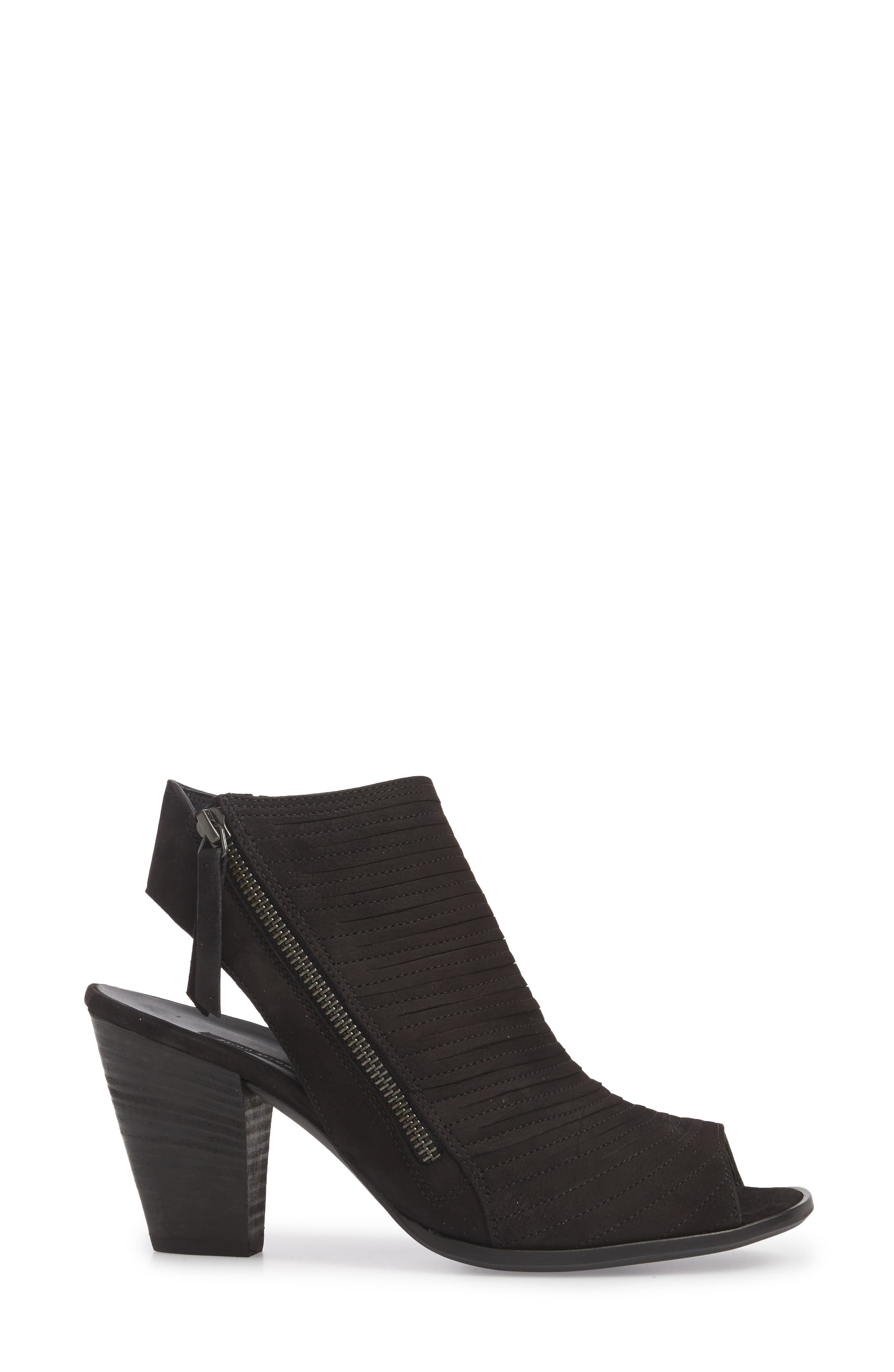 PAUL GREEN, 'Cayanne' Leather Peep Toe Sandal, Alternate thumbnail 3, color, BLACK SUEDE