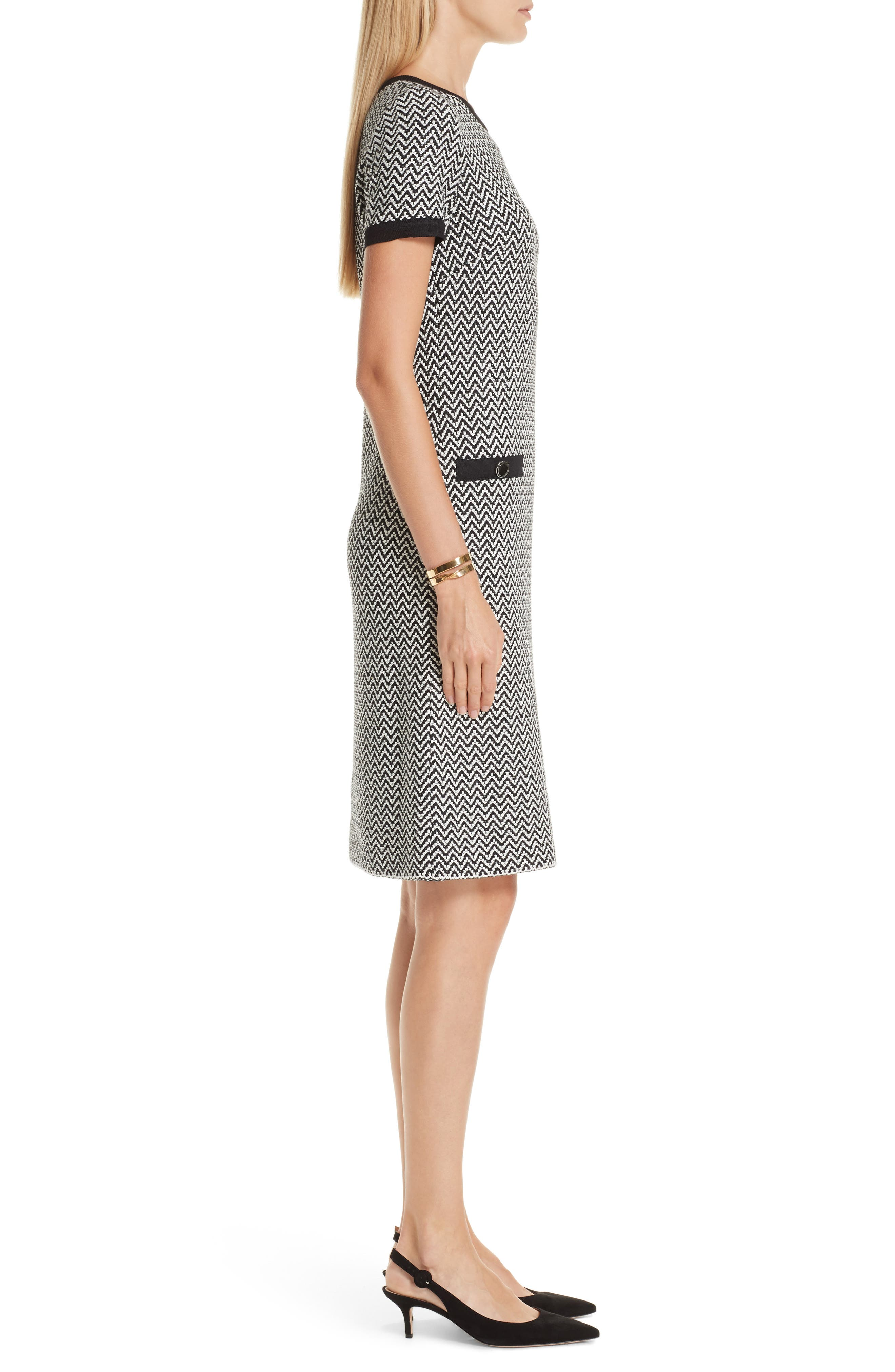 ST. JOHN COLLECTION, Mod Herringbone Knit Dress, Alternate thumbnail 3, color, CAVIAR/ CREAM