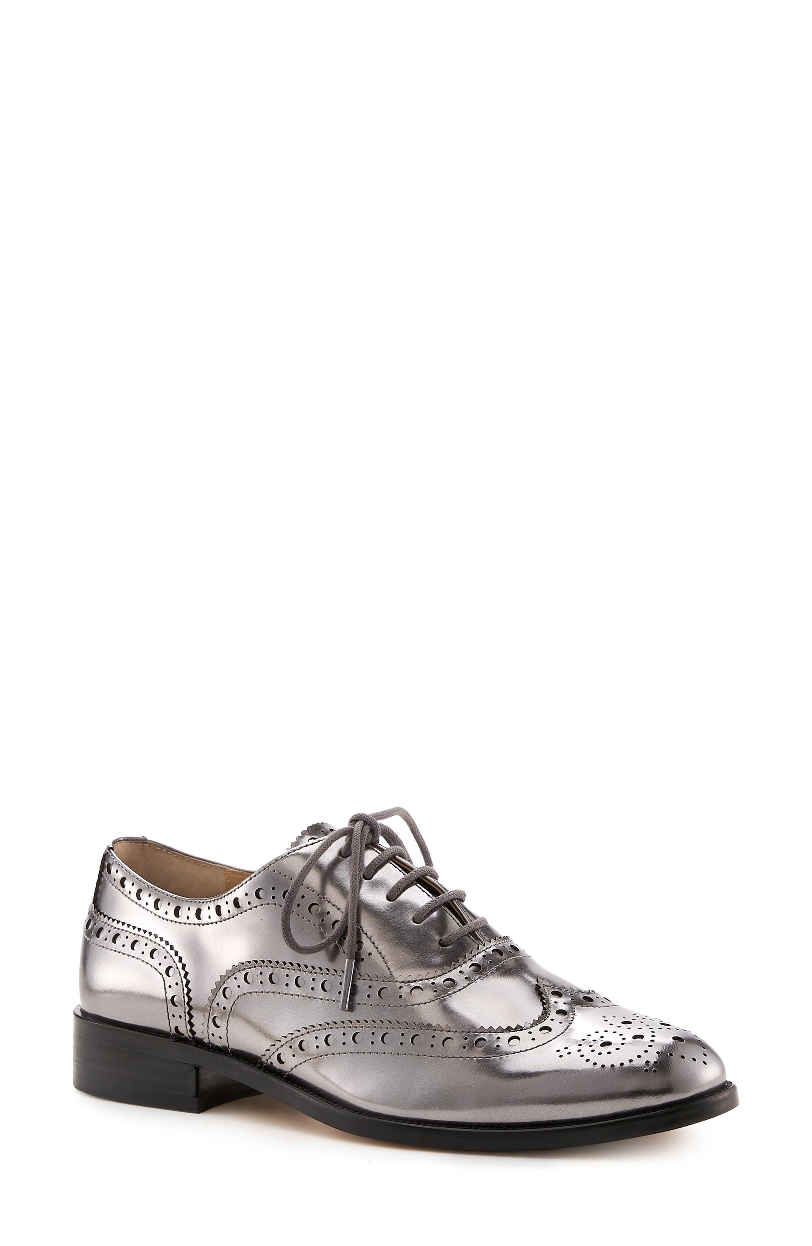BOTKIER Calista Metallic Wingtip Oxford, Main, color, PEWTER METALLIC