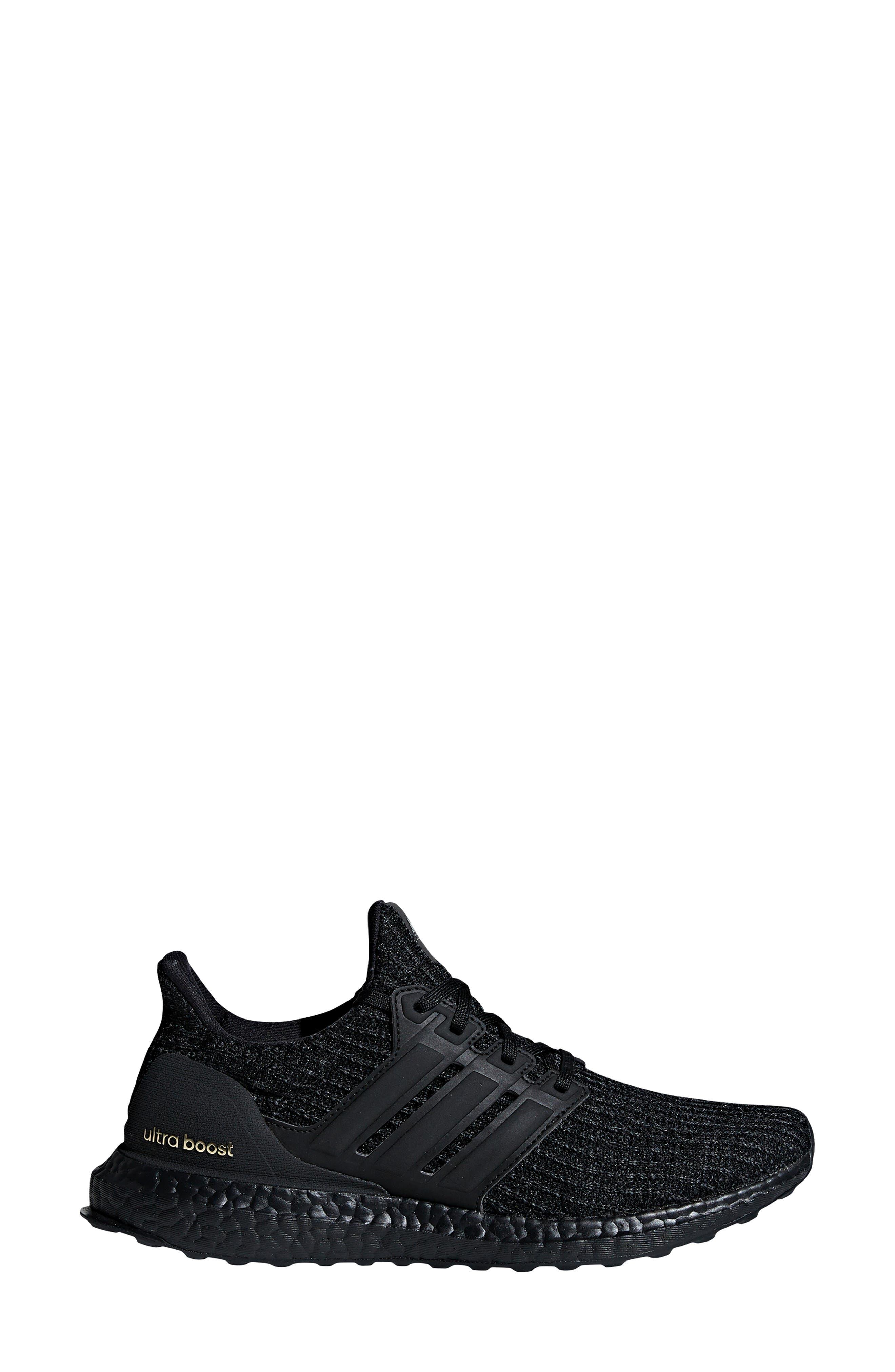 ADIDAS, 'UltraBoost' Running Shoe, Alternate thumbnail 9, color, CORE BLACK/ GOLD METALLIC