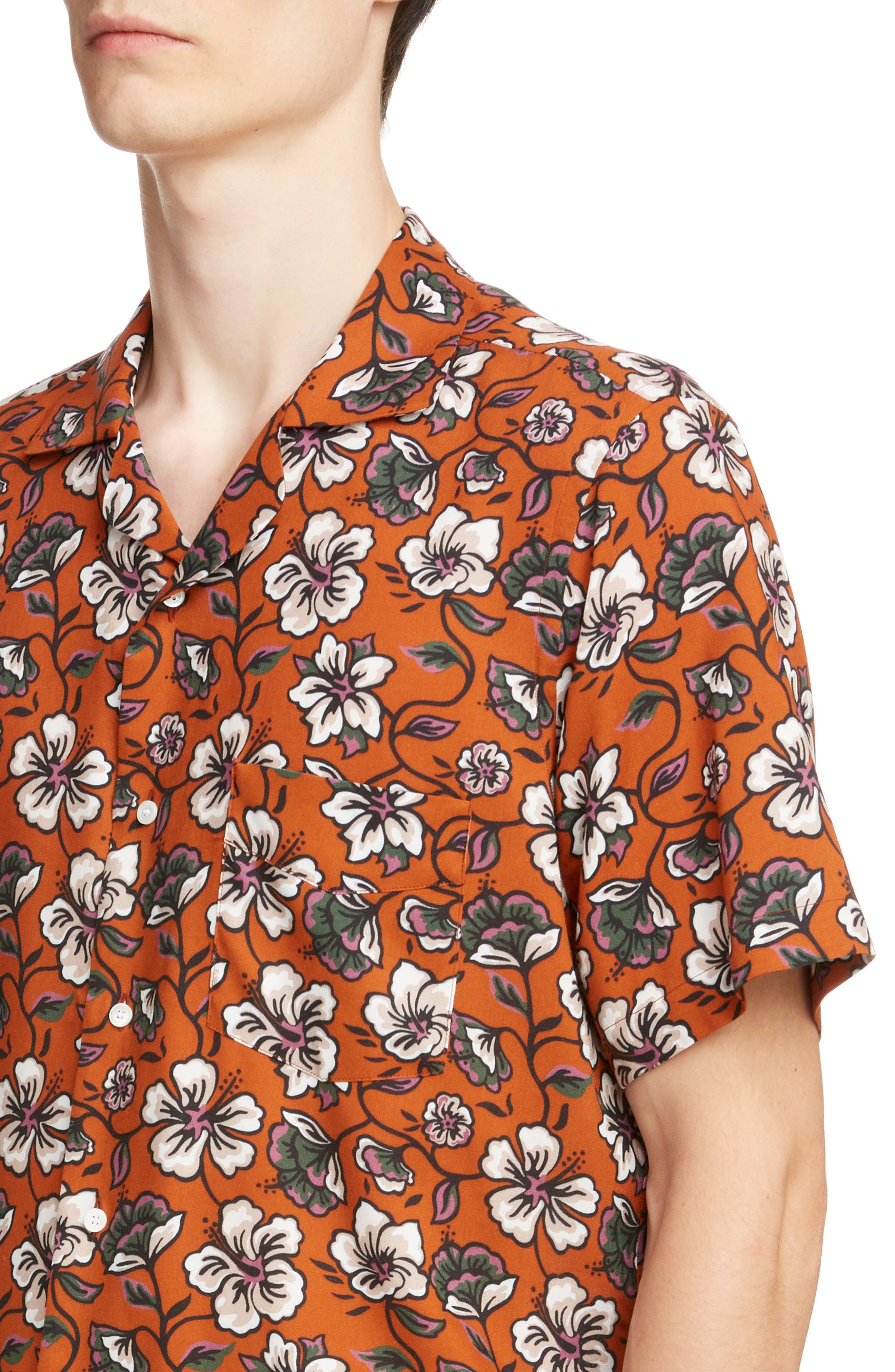LOEWE, Floral Print Camp Shirt, Alternate thumbnail 2, color, 2103-WHITE/ BROWN