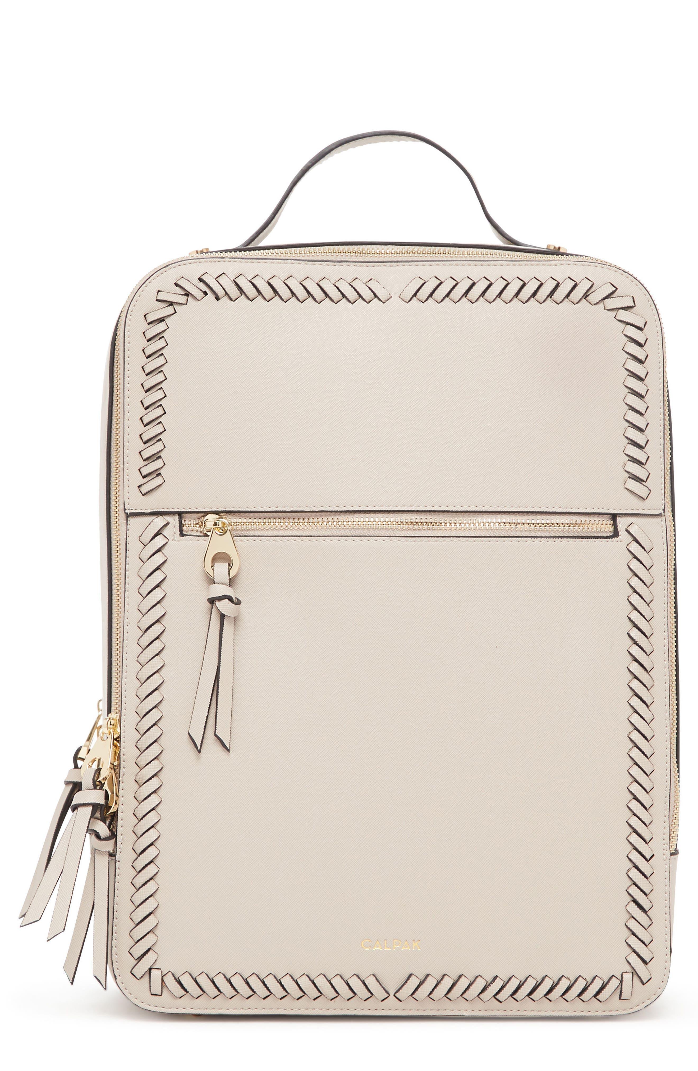 CALPAK Kaya Faux Leather Laptop Backpack, Main, color, STONE
