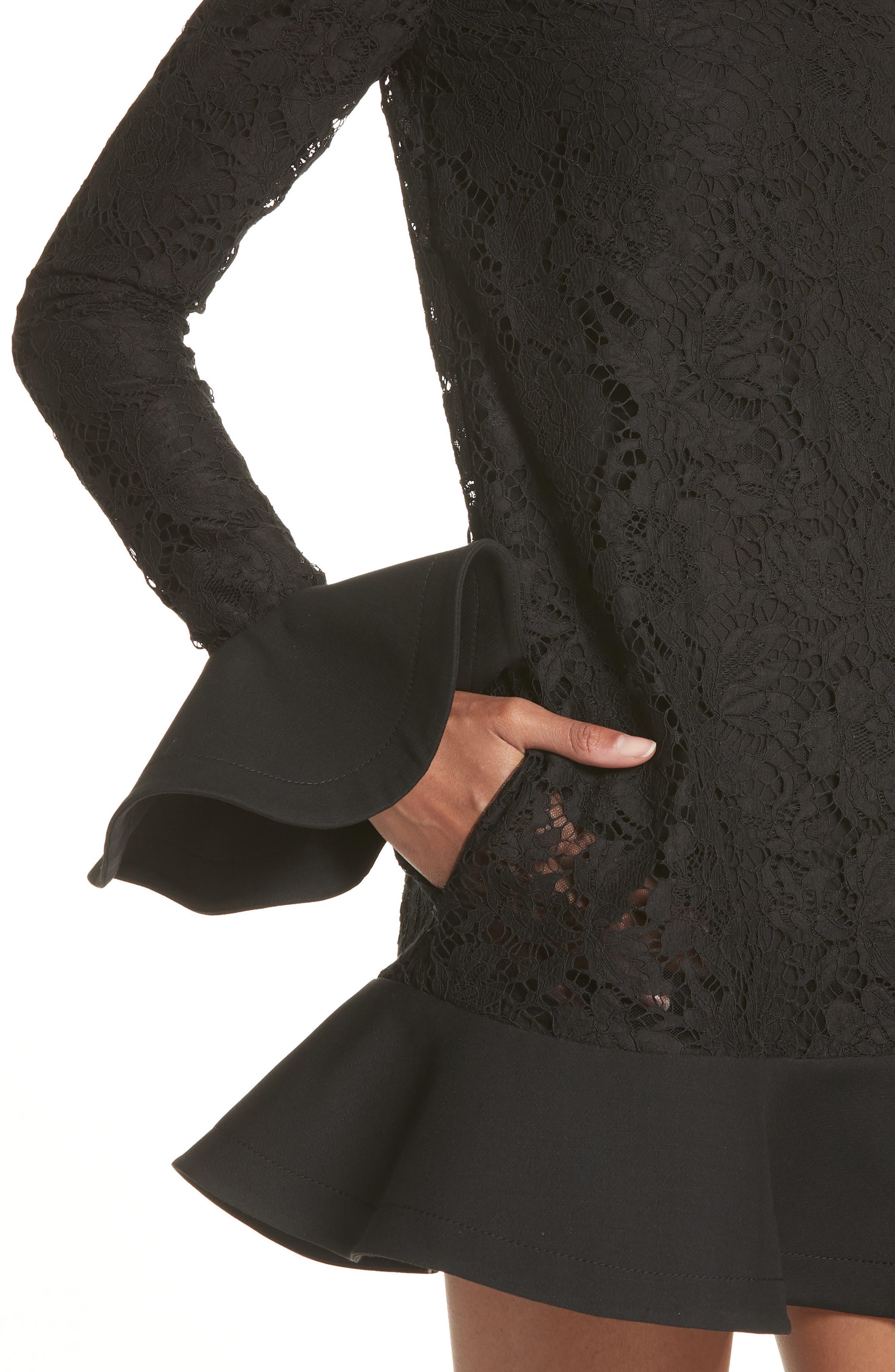 VALENTINO, Ruffle Hem Lace Dress, Alternate thumbnail 5, color, BLACK
