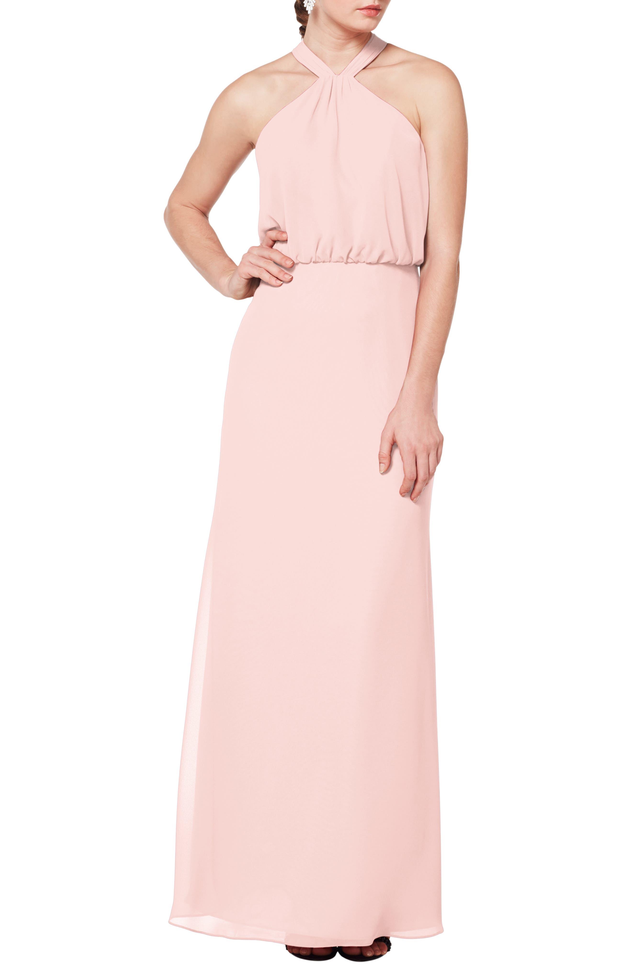 #levkoff Halter Neck Blouson Bodice Evening Dress, Pink