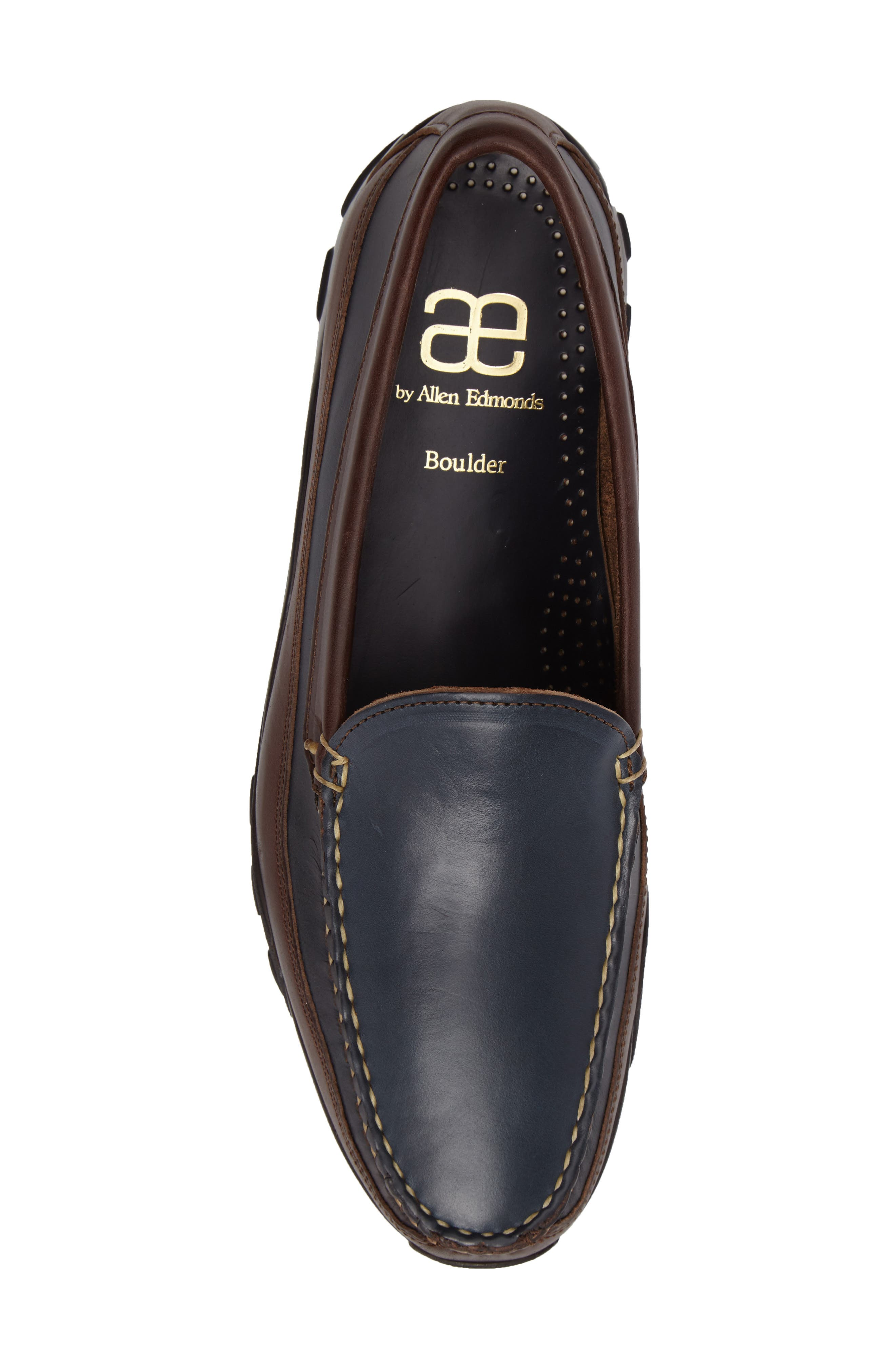 ALLEN EDMONDS, 'Boulder' Driving Loafer, Alternate thumbnail 5, color, NAVY/ BROWN