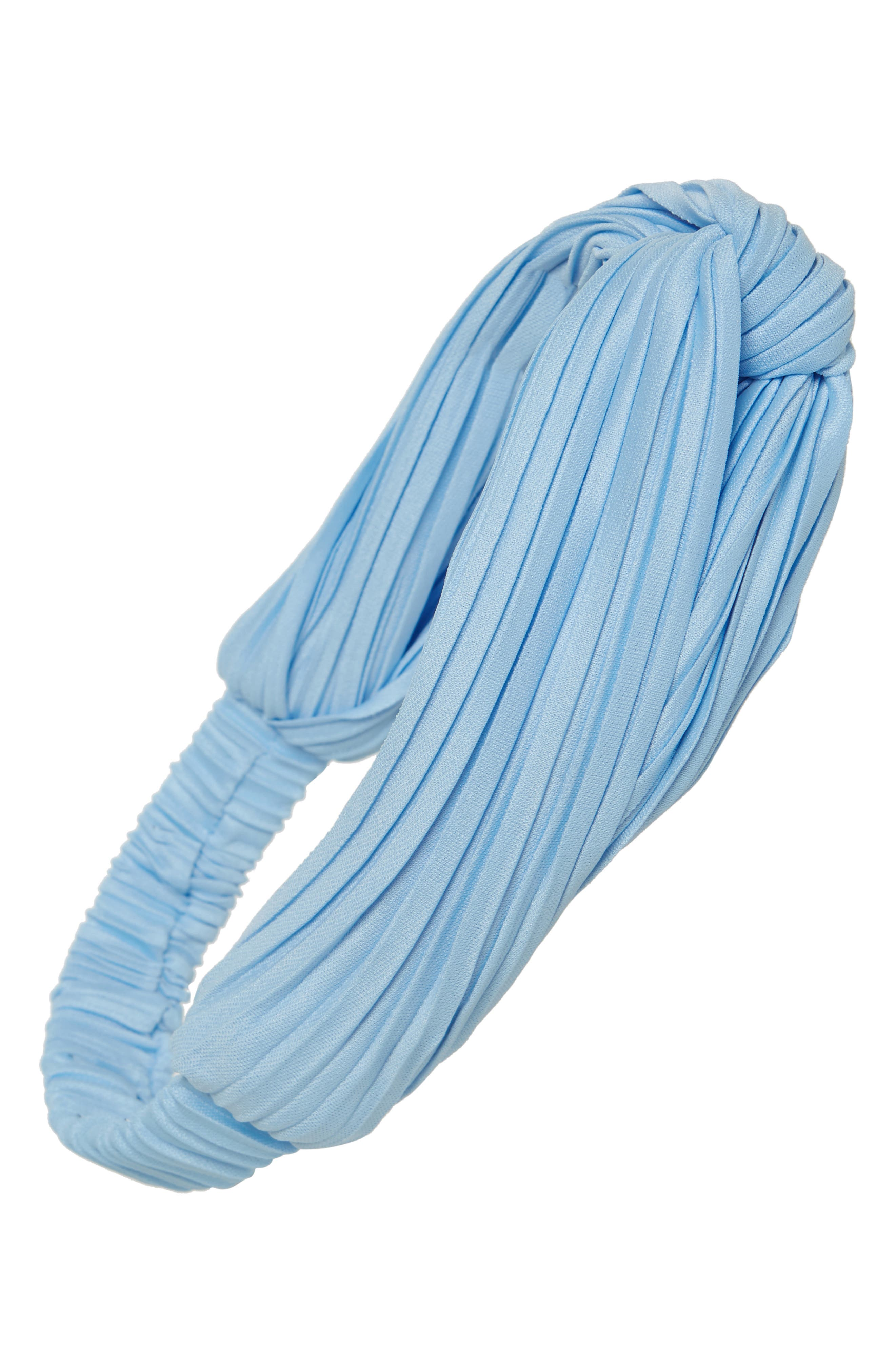 CARA Pleated Turban Head Wrap, Main, color, BLUE