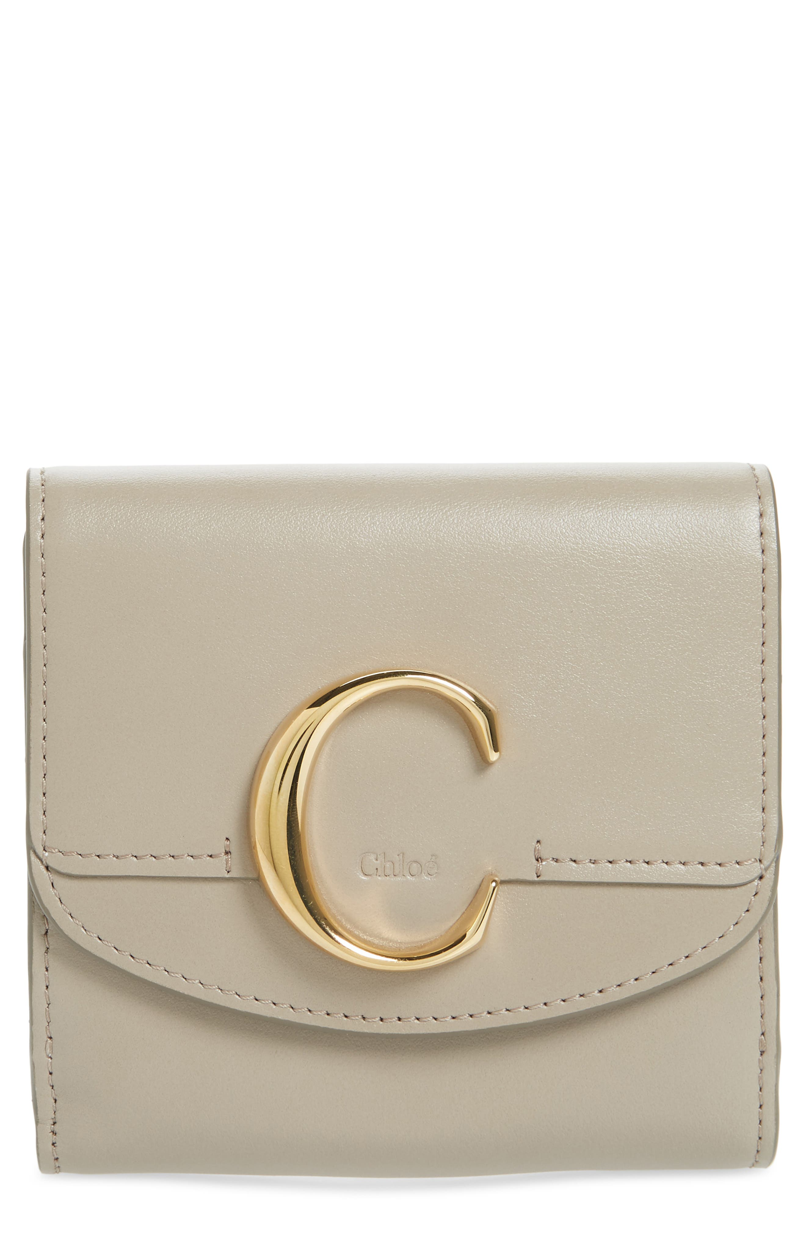 CHLOÉ, Square Leather Wallet, Main thumbnail 1, color, MOTTY GREY