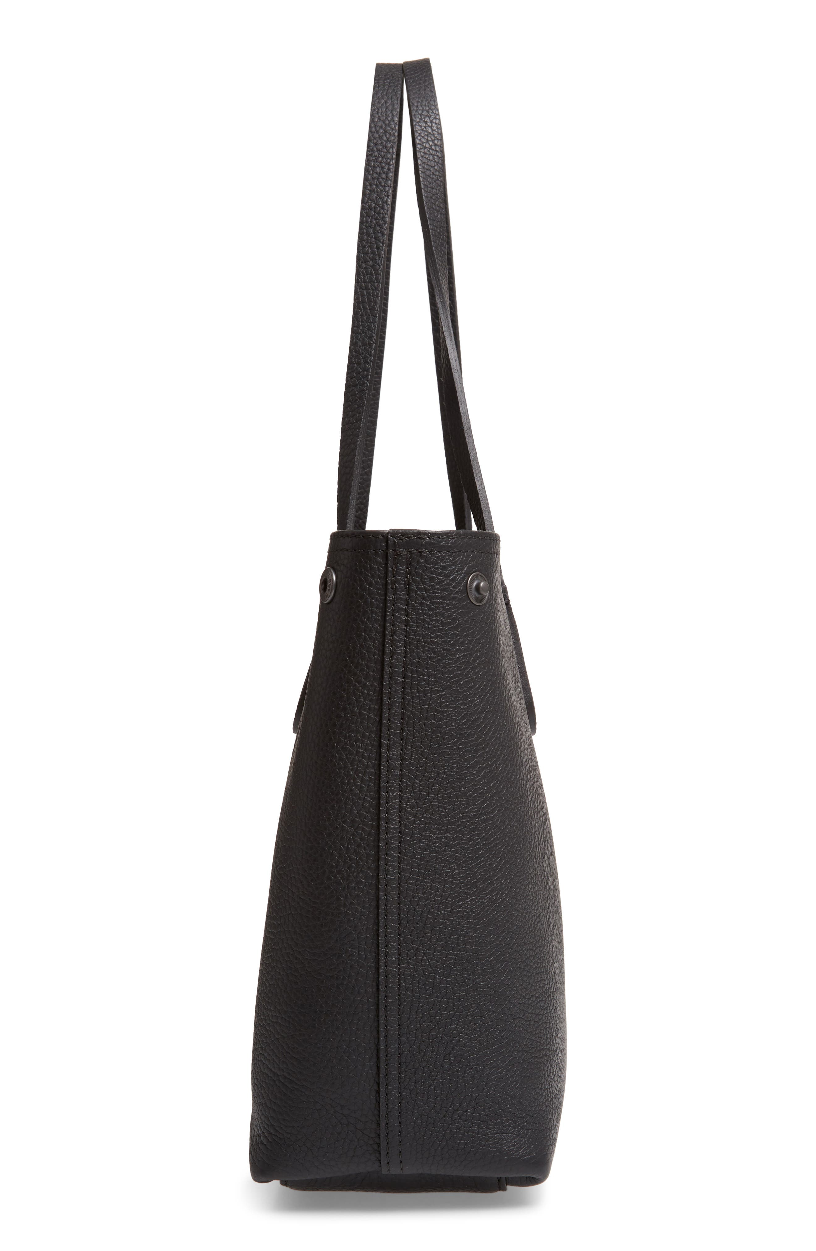 LONGCHAMP, Roseau Essential Mid Leather Tote, Alternate thumbnail 7, color, BLACK