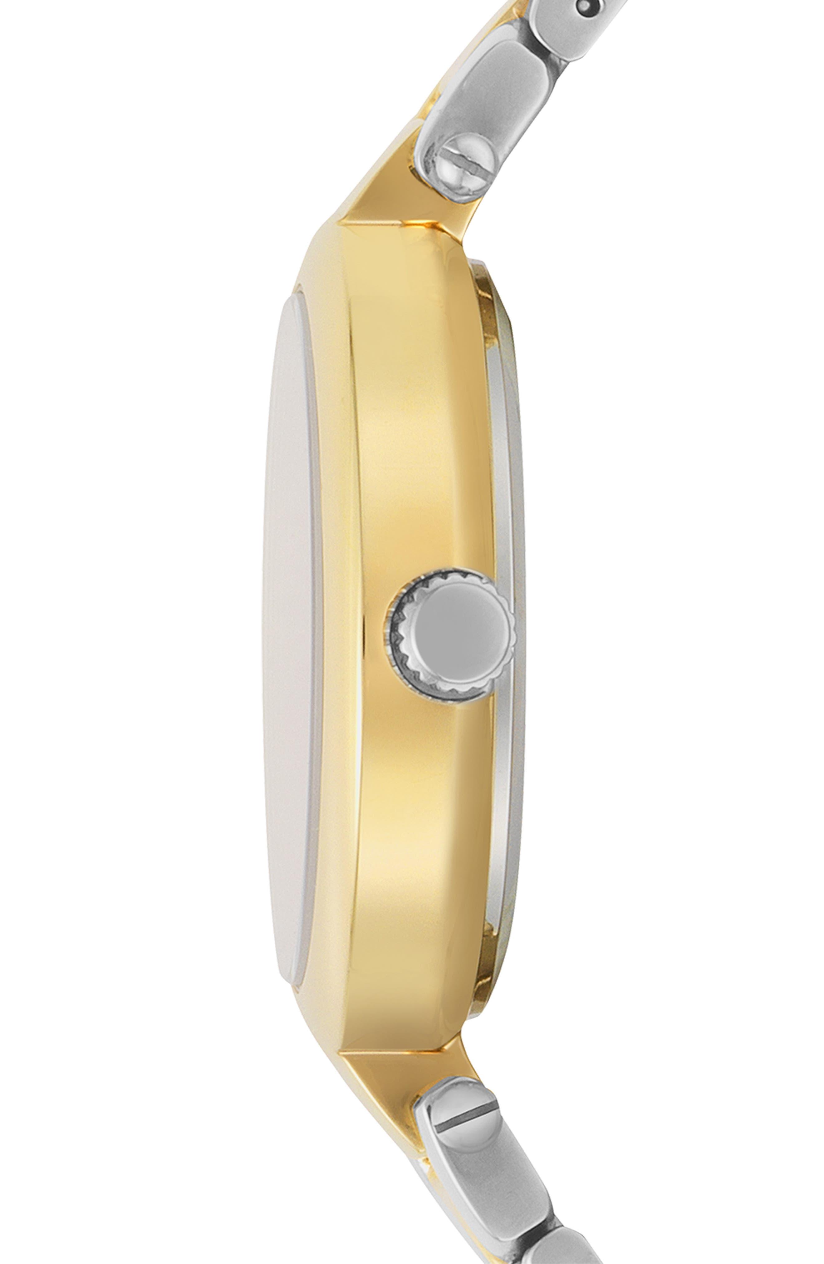 VERSUS VERSACE, Buffle Bay Bracelet Watch, 36mm, Alternate thumbnail 2, color, SILVER/ GOLD