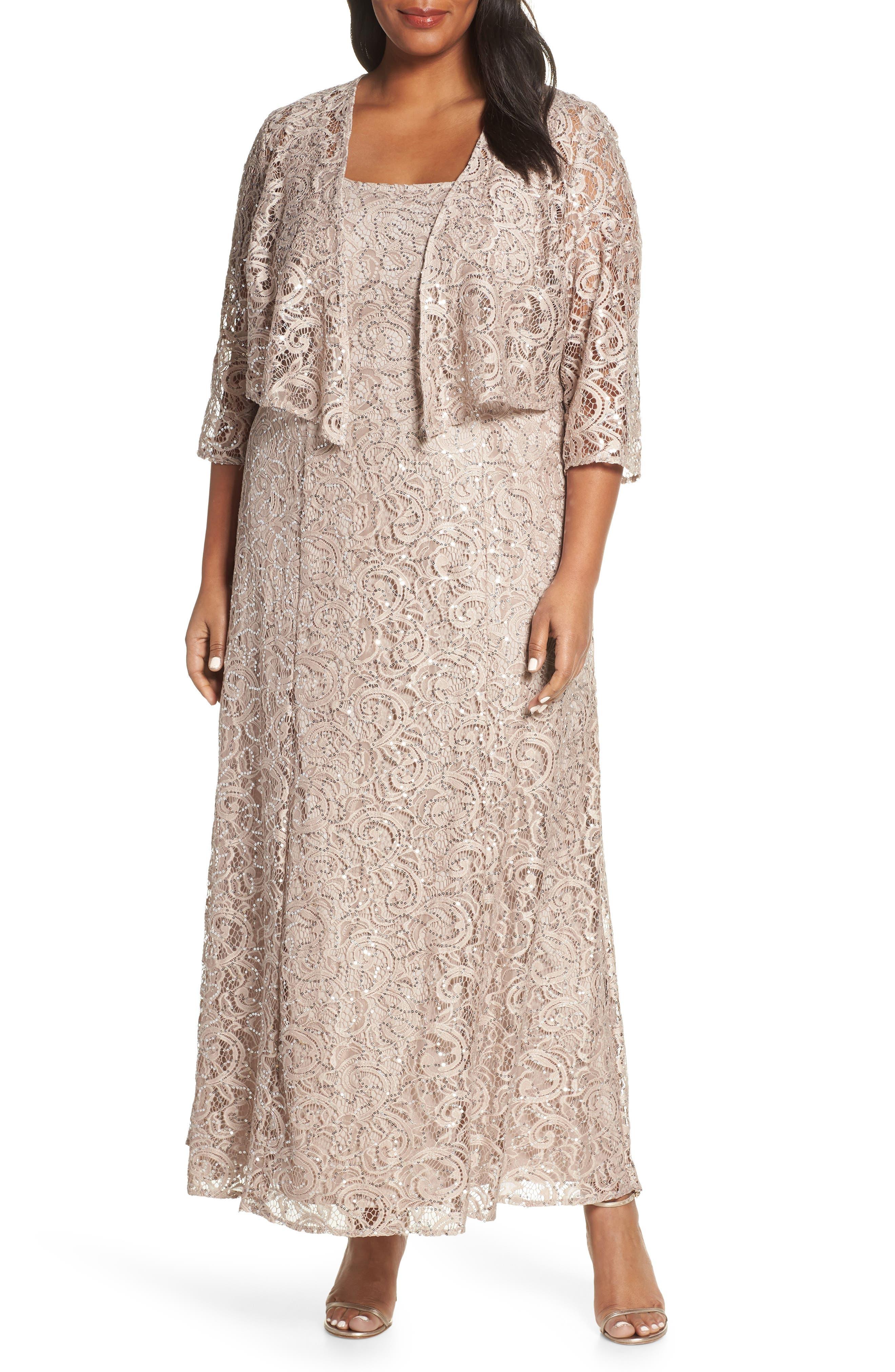 ALEX EVENINGS Lace & Sequin Jacket Dress, Main, color, BUFF
