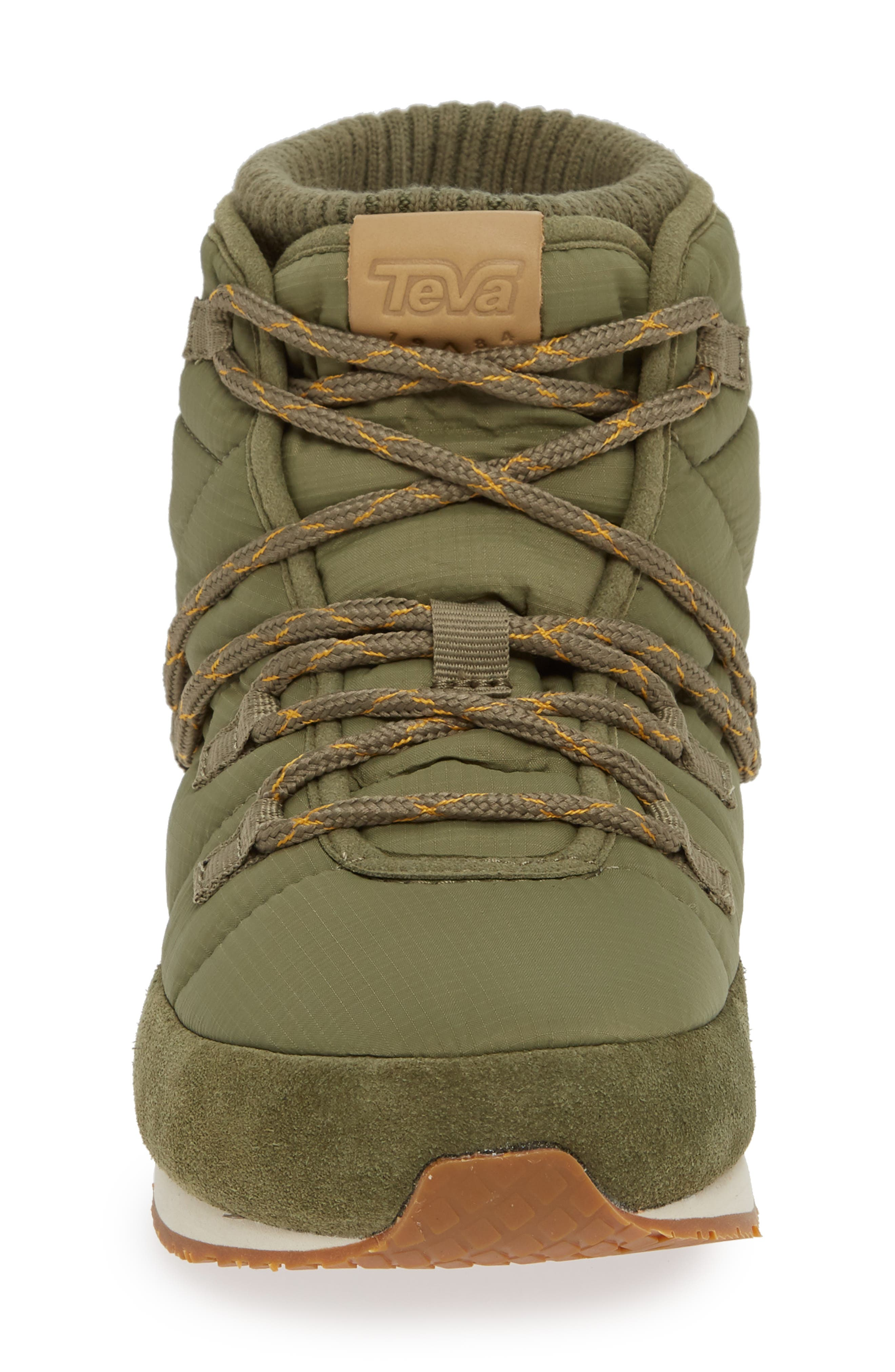TEVA, Ember Lace-Up Winter Bootie, Alternate thumbnail 4, color, BURNT OLIVE FABRIC