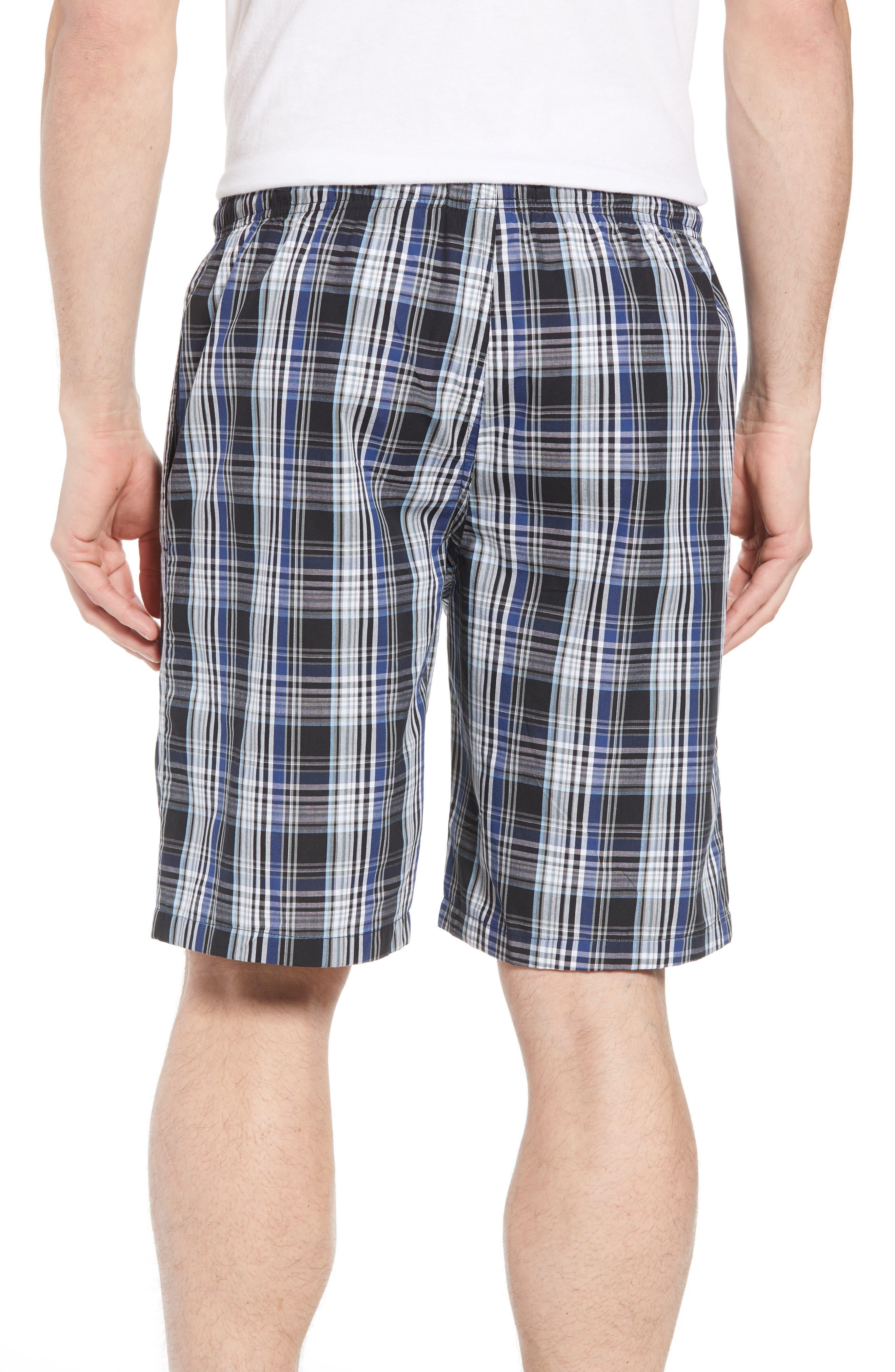 NORDSTROM MEN'S SHOP, Poplin Lounge Shorts, Alternate thumbnail 2, color, BLACK TWILIGHT BLUE PLAID