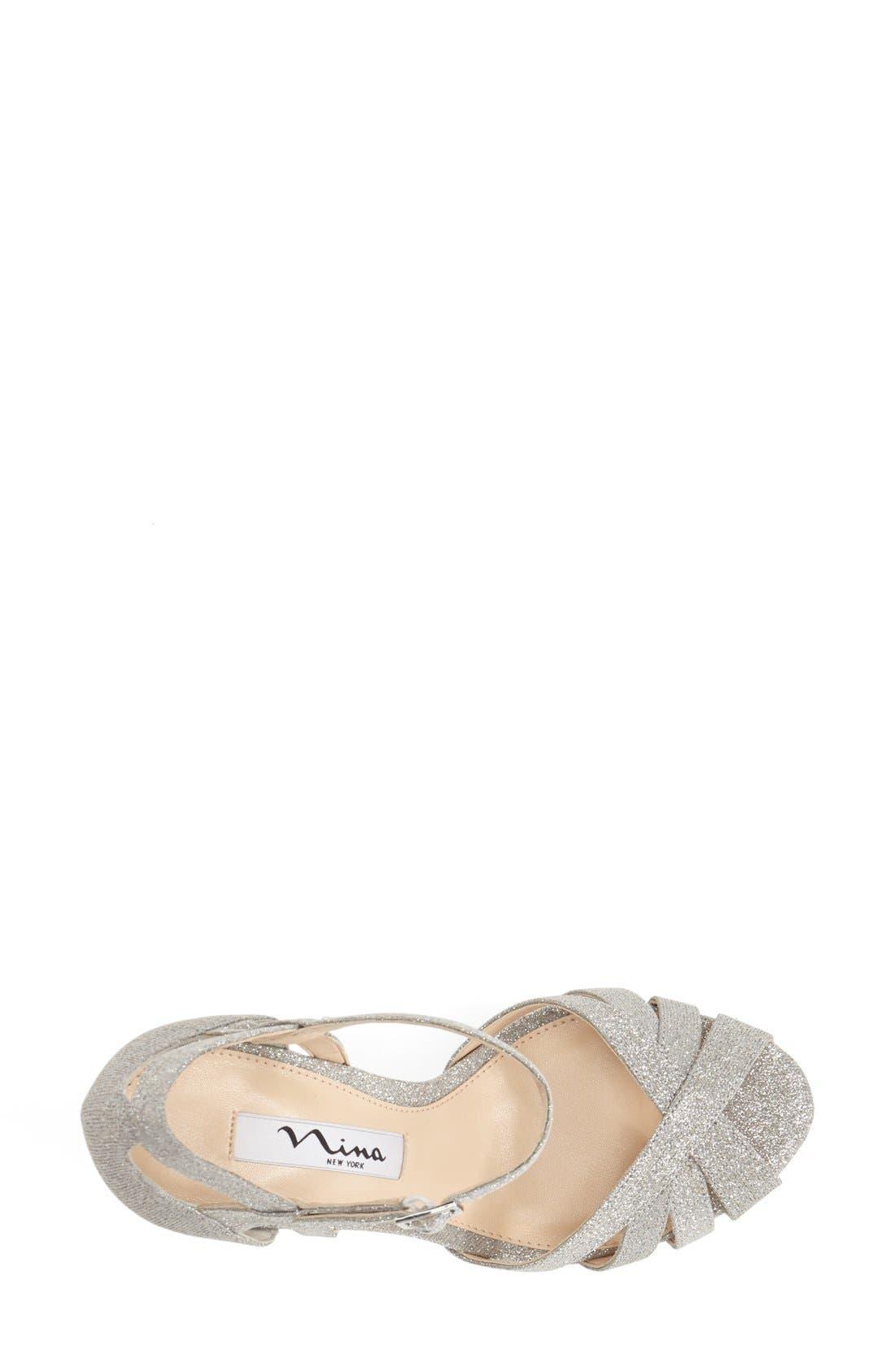 NINA, 'Senora' Glitter Satin Sandal, Alternate thumbnail 3, color, 042