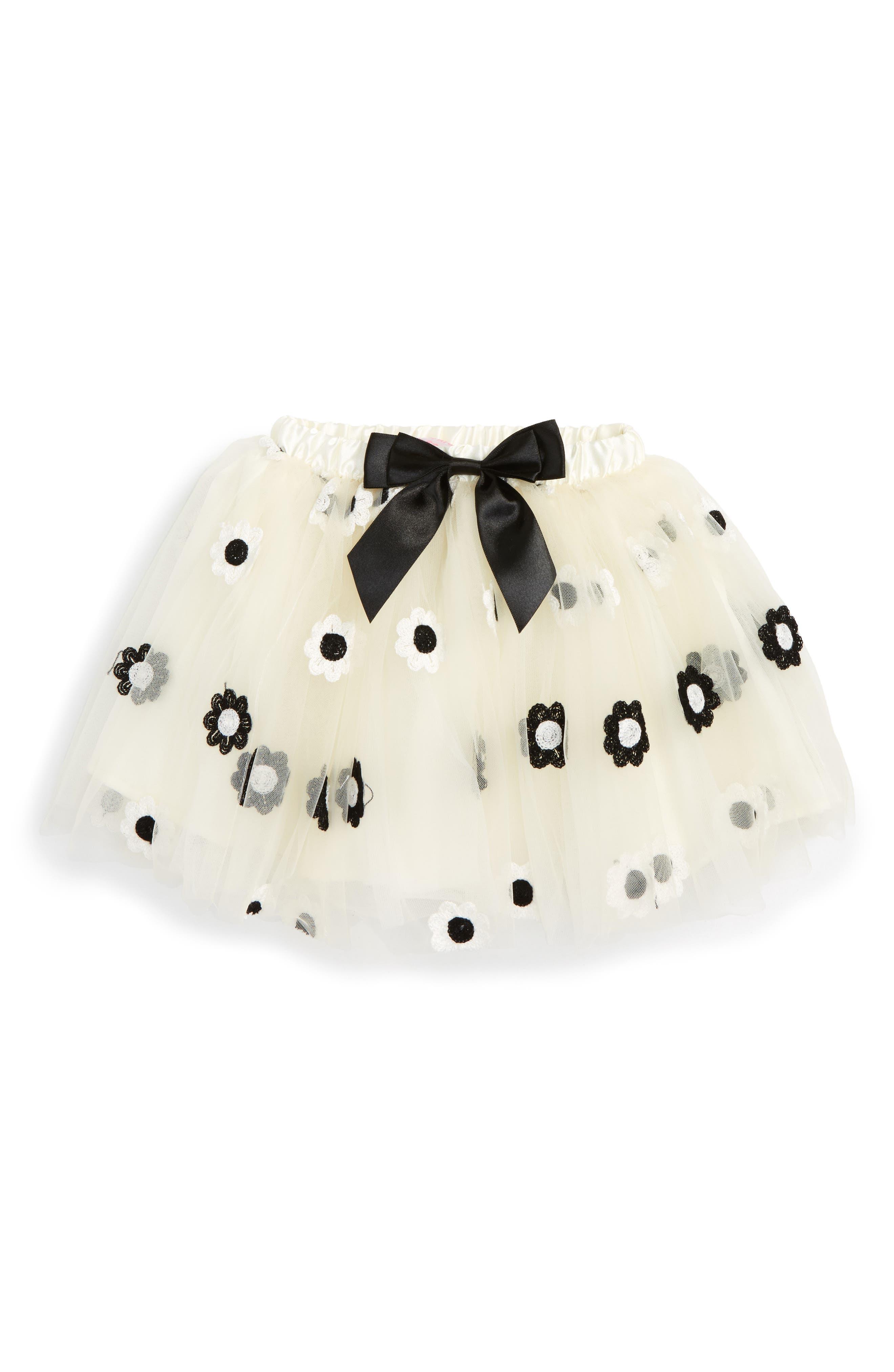 POPATU Embroidered Daisy Tutu Skirt, Main, color, WHITE