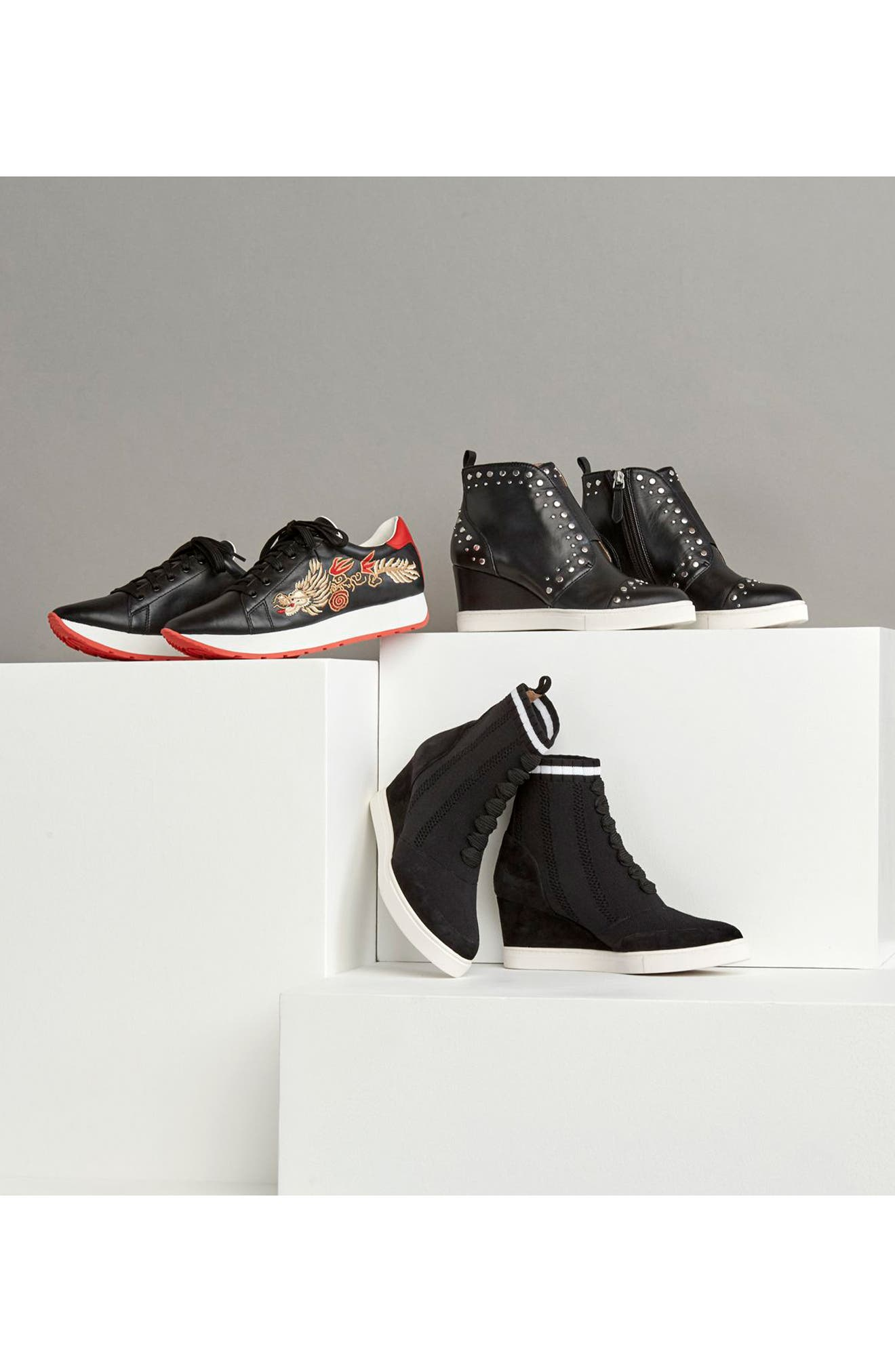 LINEA PAOLO, Felicity Wedge Sneaker, Alternate thumbnail 7, color, BLACK LEATHER