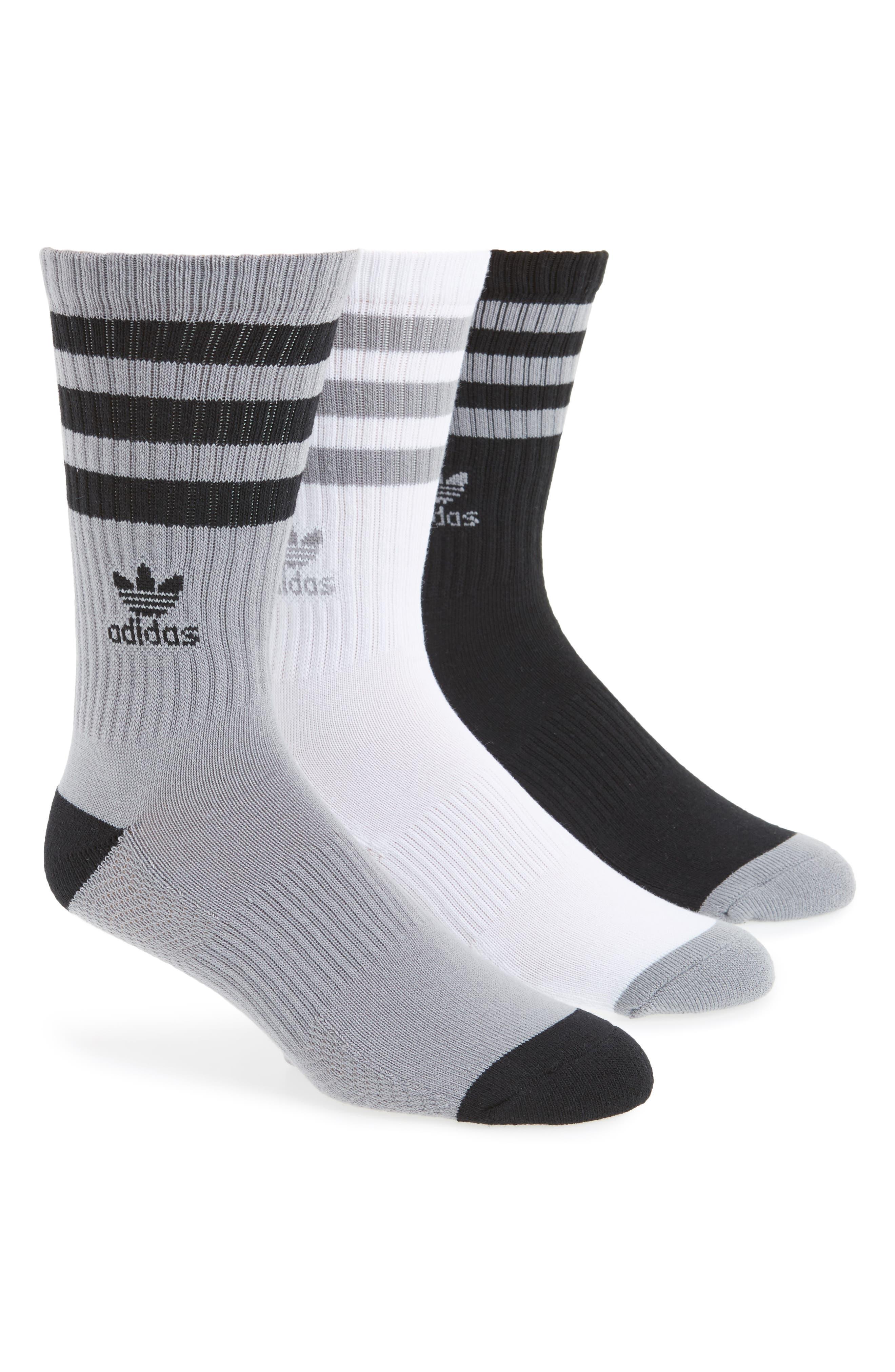 ADIDAS ORIGINALS, 3-Pack Ribbed Crew Socks, Main thumbnail 1, color, LIGHT ONYX/ BLACK/ WHITE