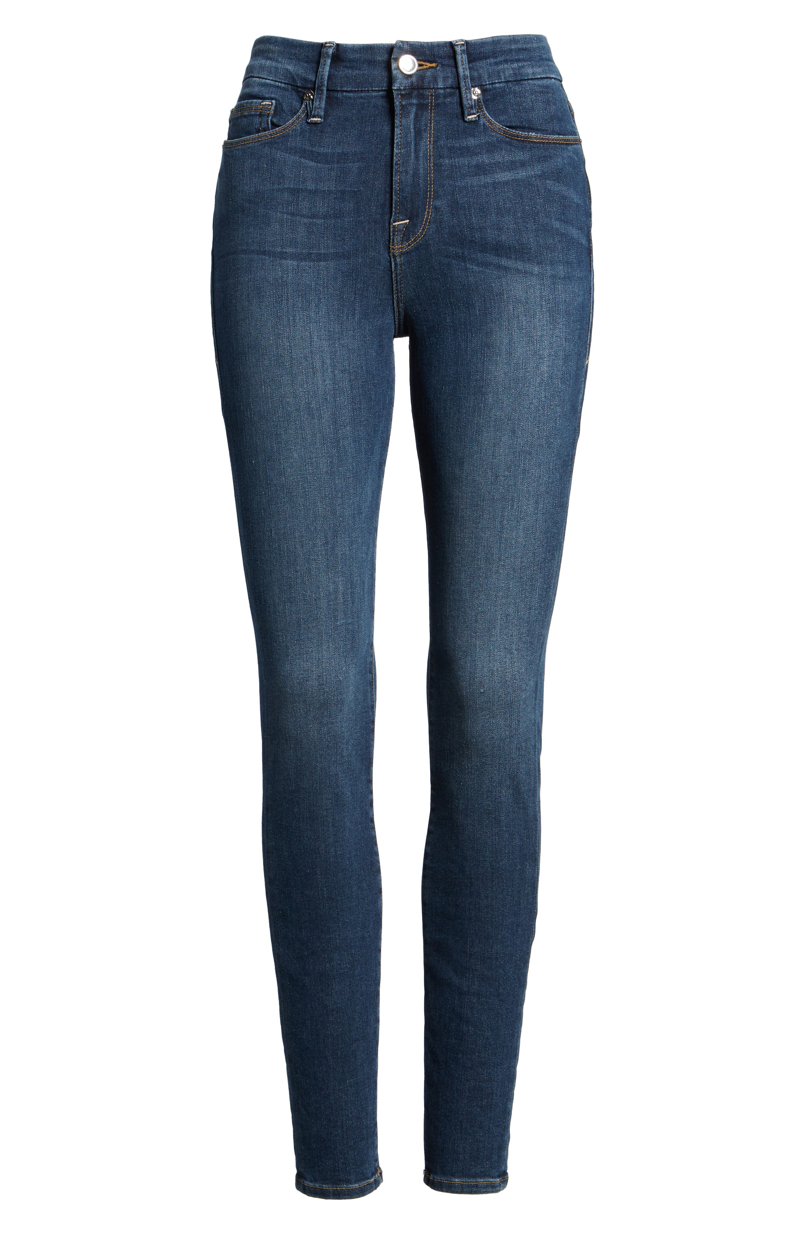 GOOD AMERICAN, Good Legs High Rise Skinny Jeans, Alternate thumbnail 6, color, BLUE 004