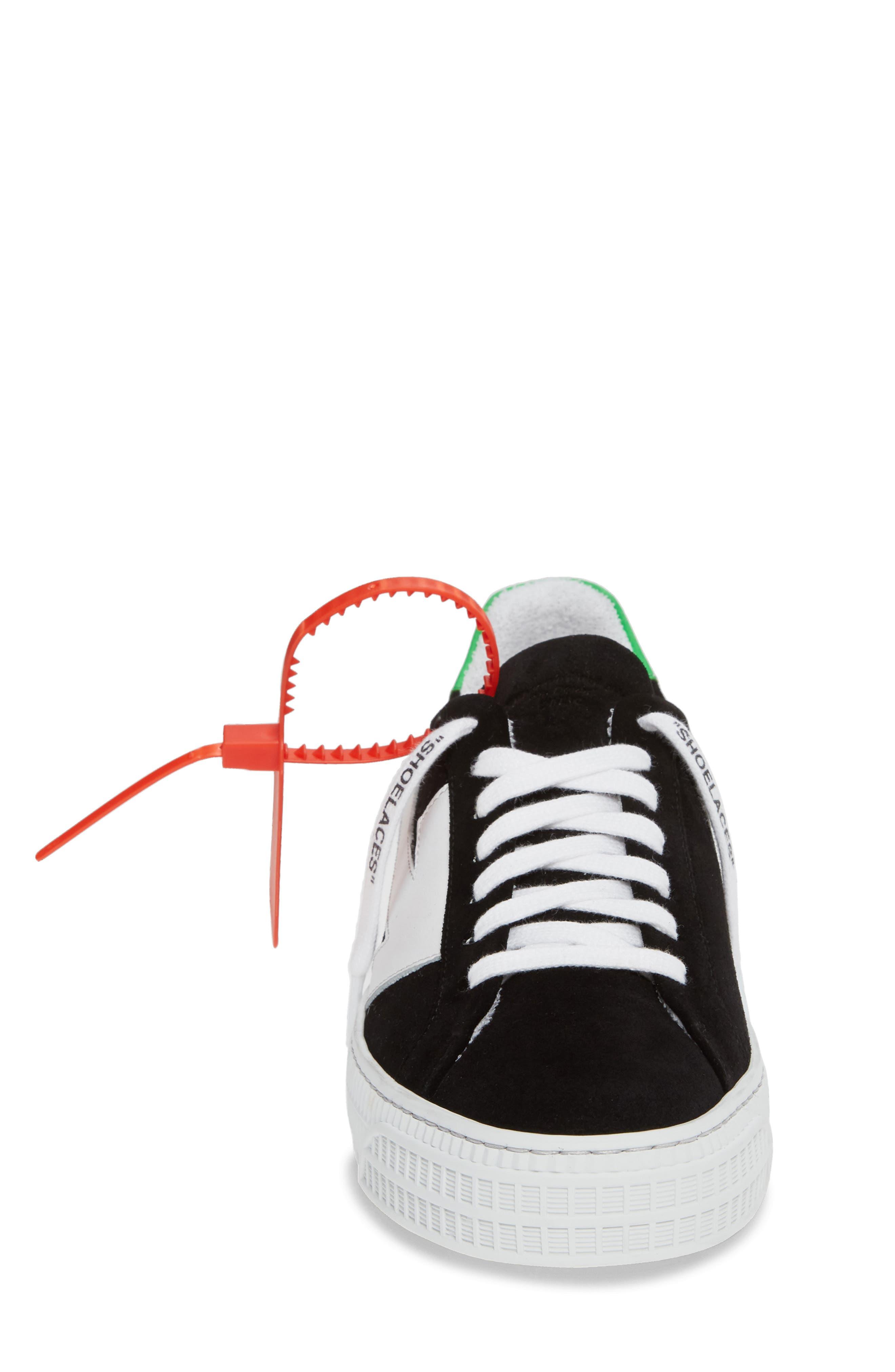 OFF-WHITE, Arrow Sneaker, Alternate thumbnail 4, color, BLACK WHITE