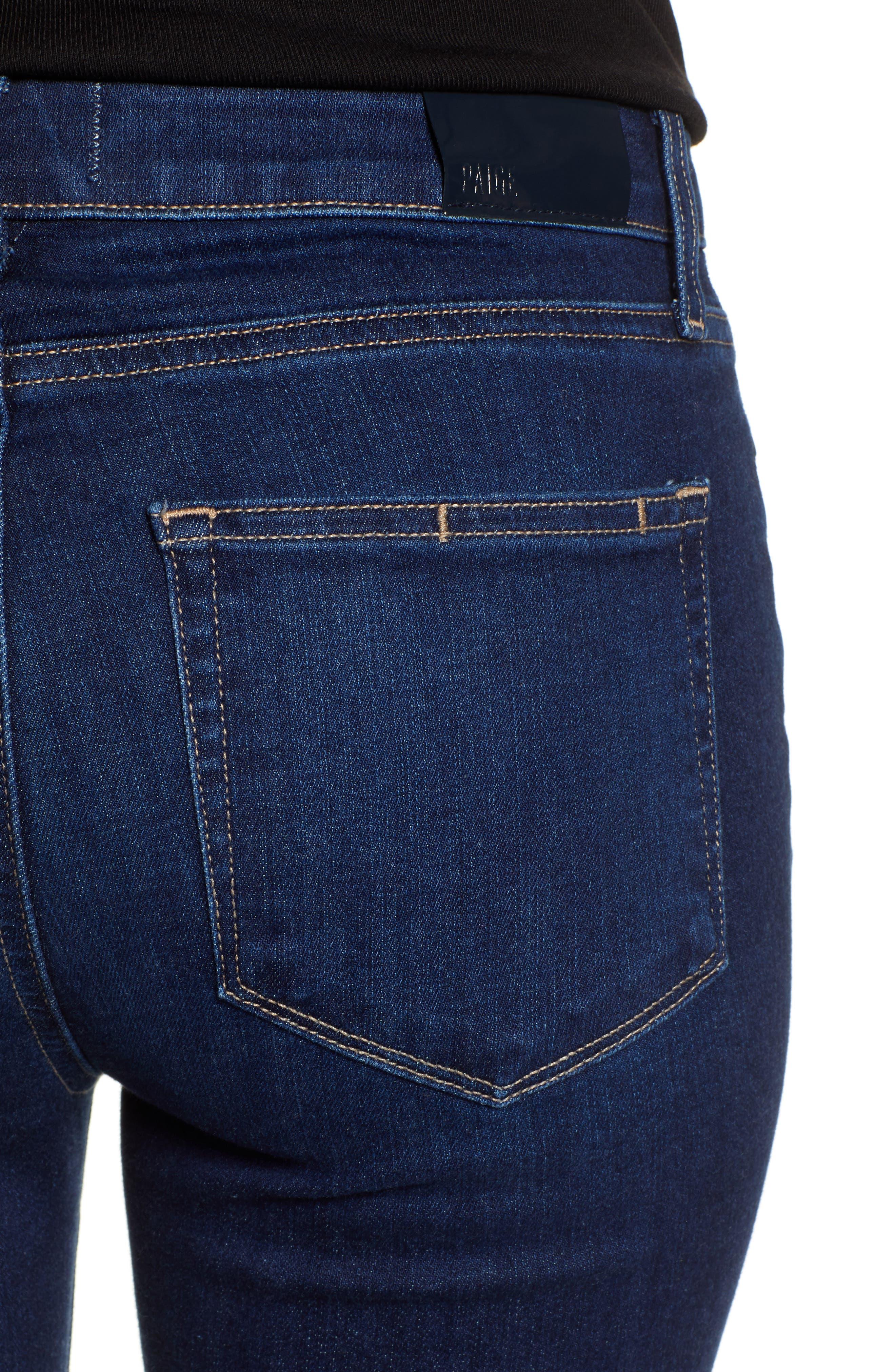 PAIGE, Transcend Vintage - Manhattan High Waist Bootcut Jeans, Alternate thumbnail 5, color, 400