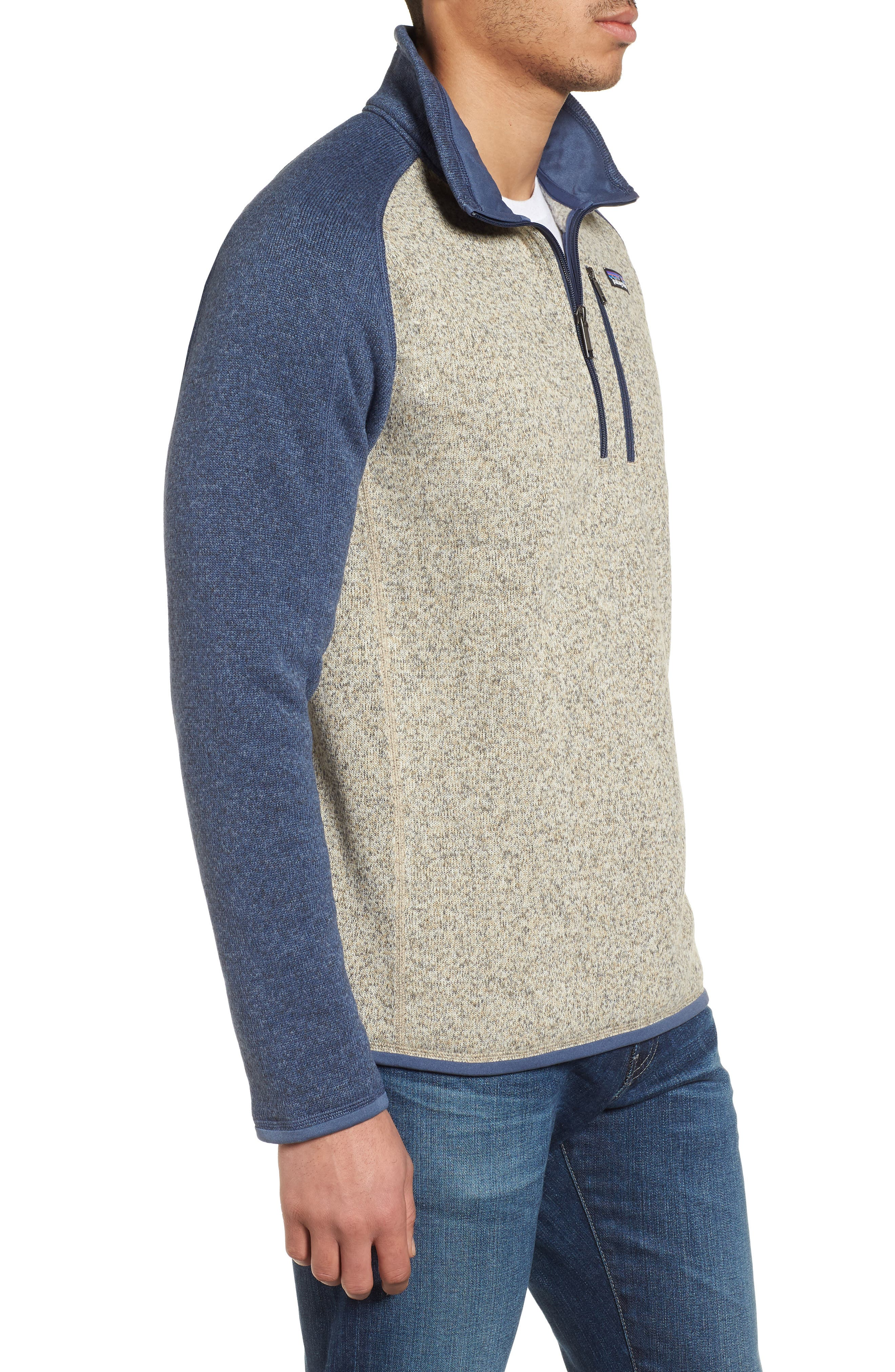PATAGONIA, Better Sweater Quarter Zip Pullover, Alternate thumbnail 4, color, BLEACHED STONE W/DOLOMITE BLUE
