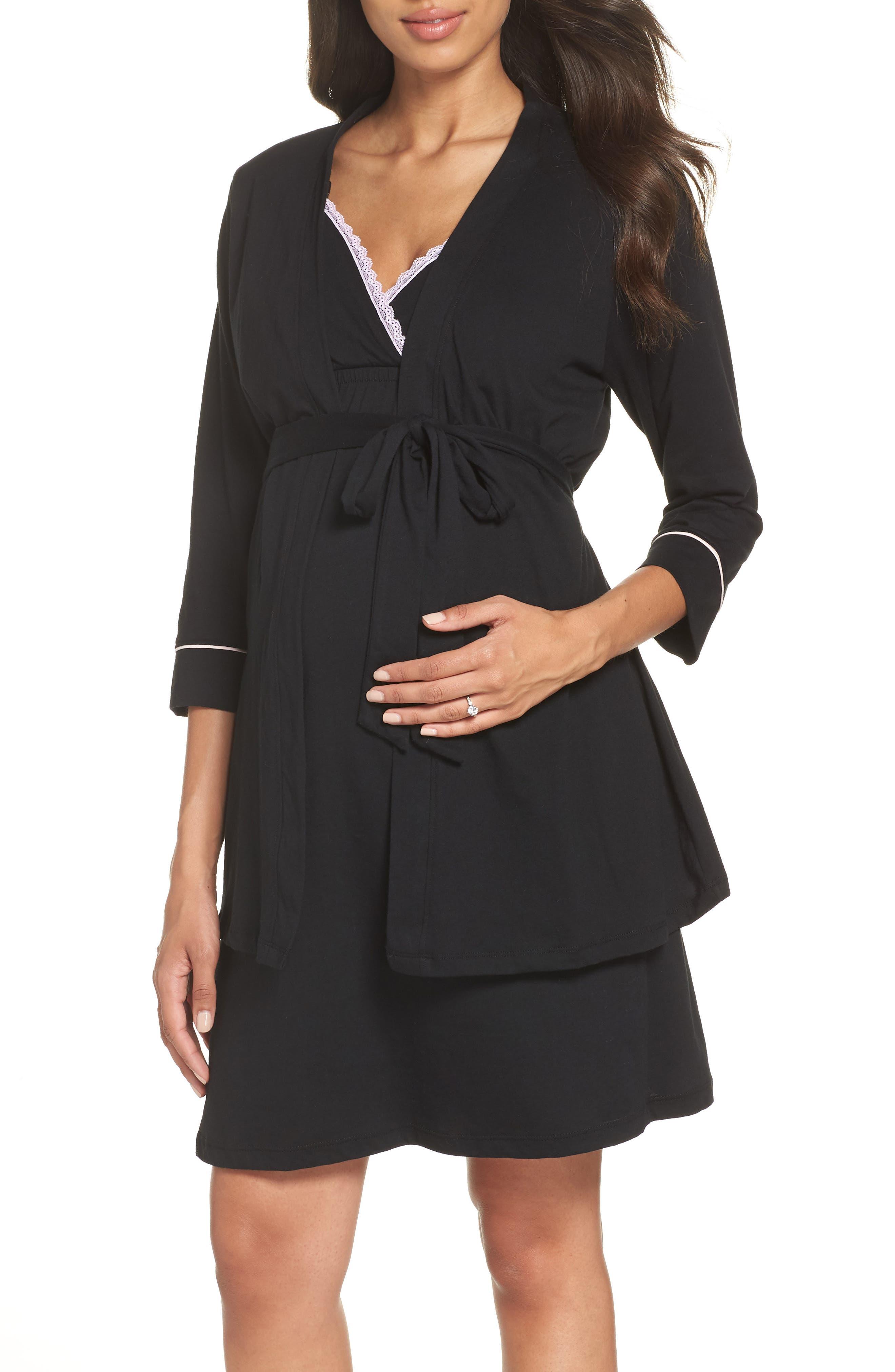 BELABUMBUM Maternity/Nursing Robe & Chemise, Main, color, BLACK