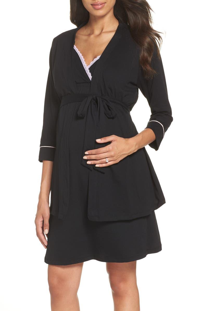 4936bd9fd BELABUMBUM Maternity/Nursing Robe & Chemise, Main, color, BLACK