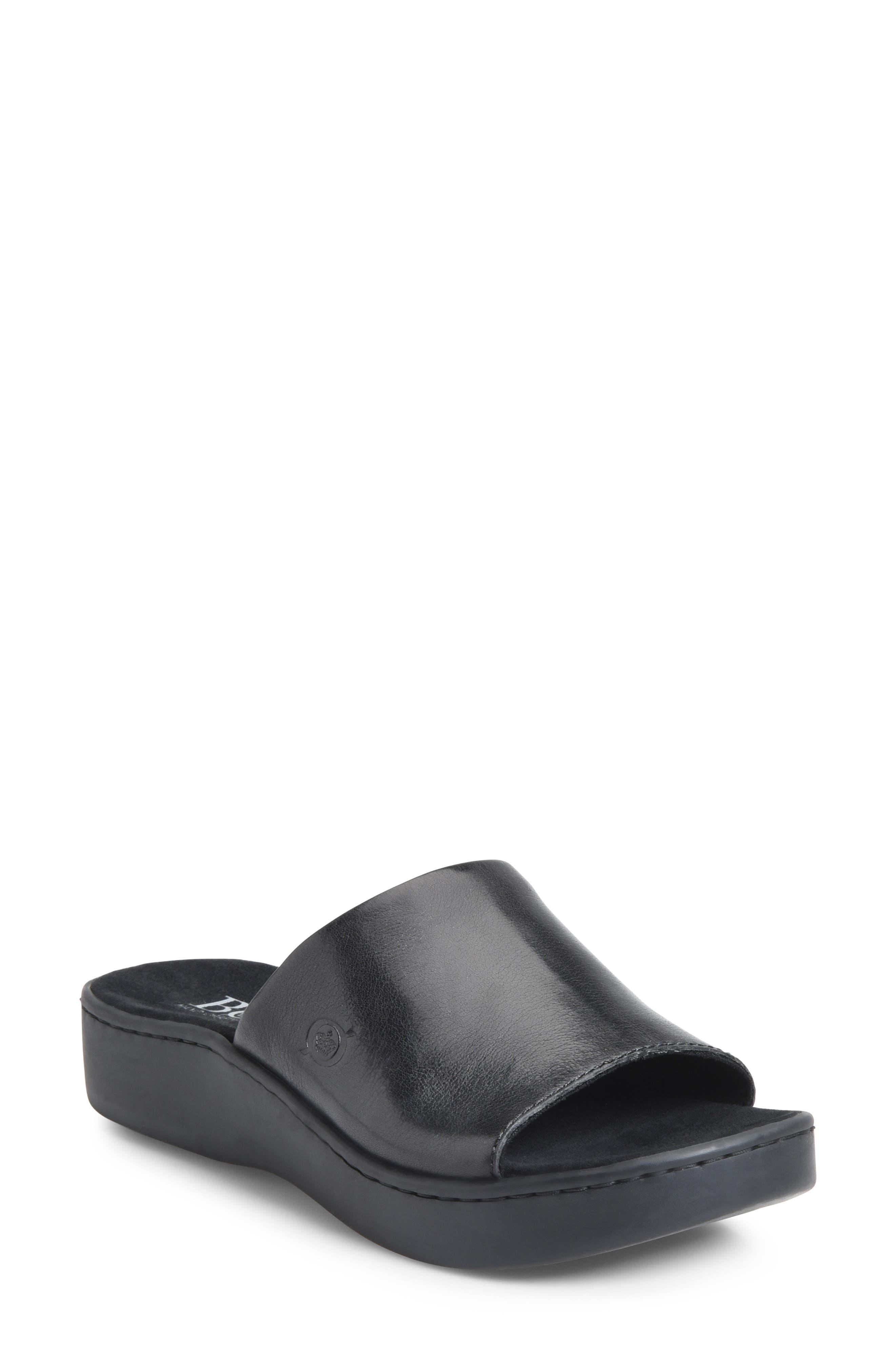 BØRN Ottawa Slide Sandal, Main, color, BLACK LEATHER
