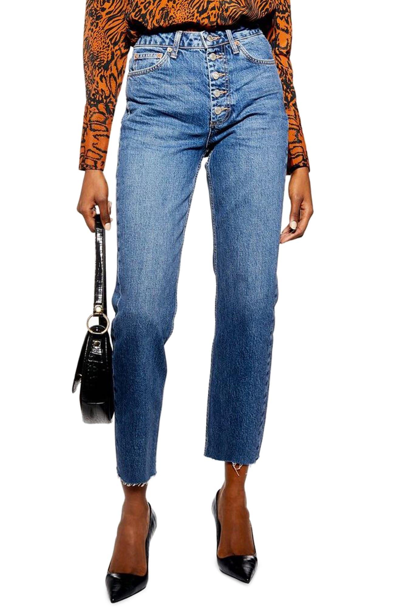 TOPSHOP, Exposed Button Raw Hem Straight Leg Jeans, Main thumbnail 1, color, INDIGO