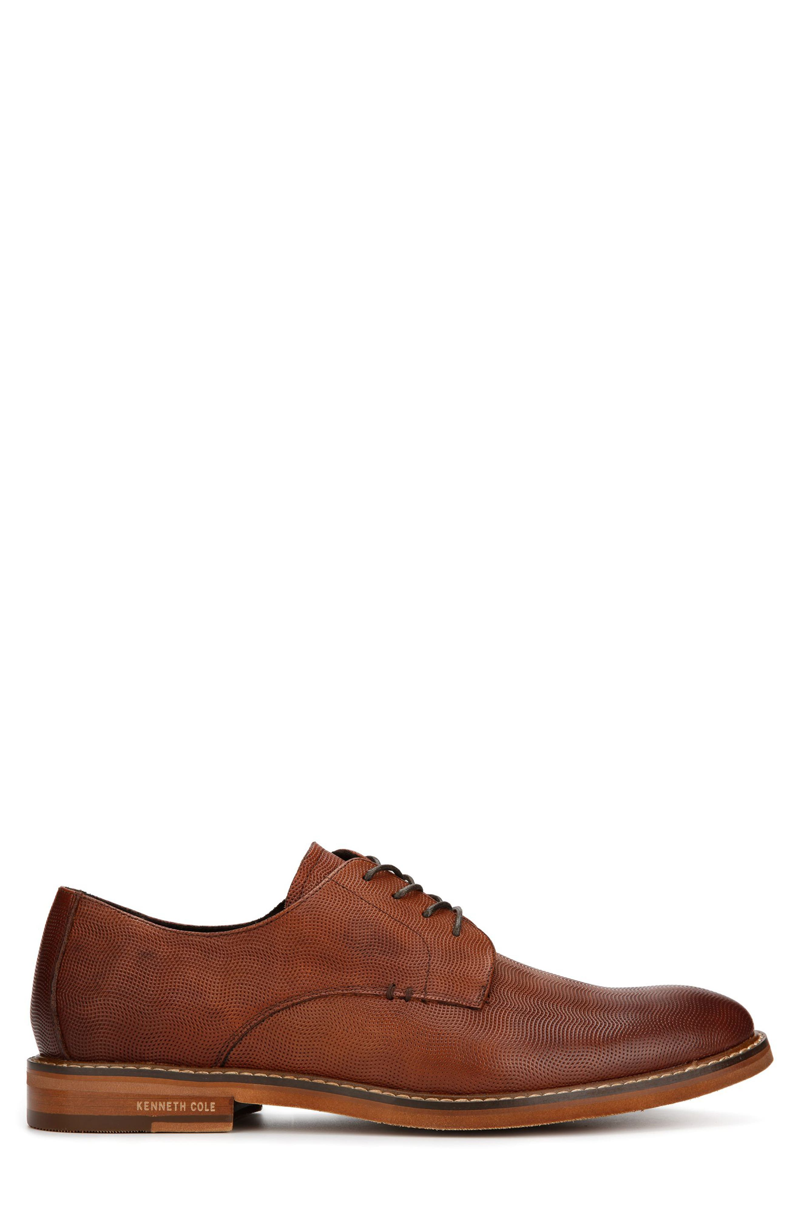 KENNETH COLE NEW YORK, Dance Textured Plain Toe Derby, Alternate thumbnail 2, color, COGNAC EMBOSSED LEATHER