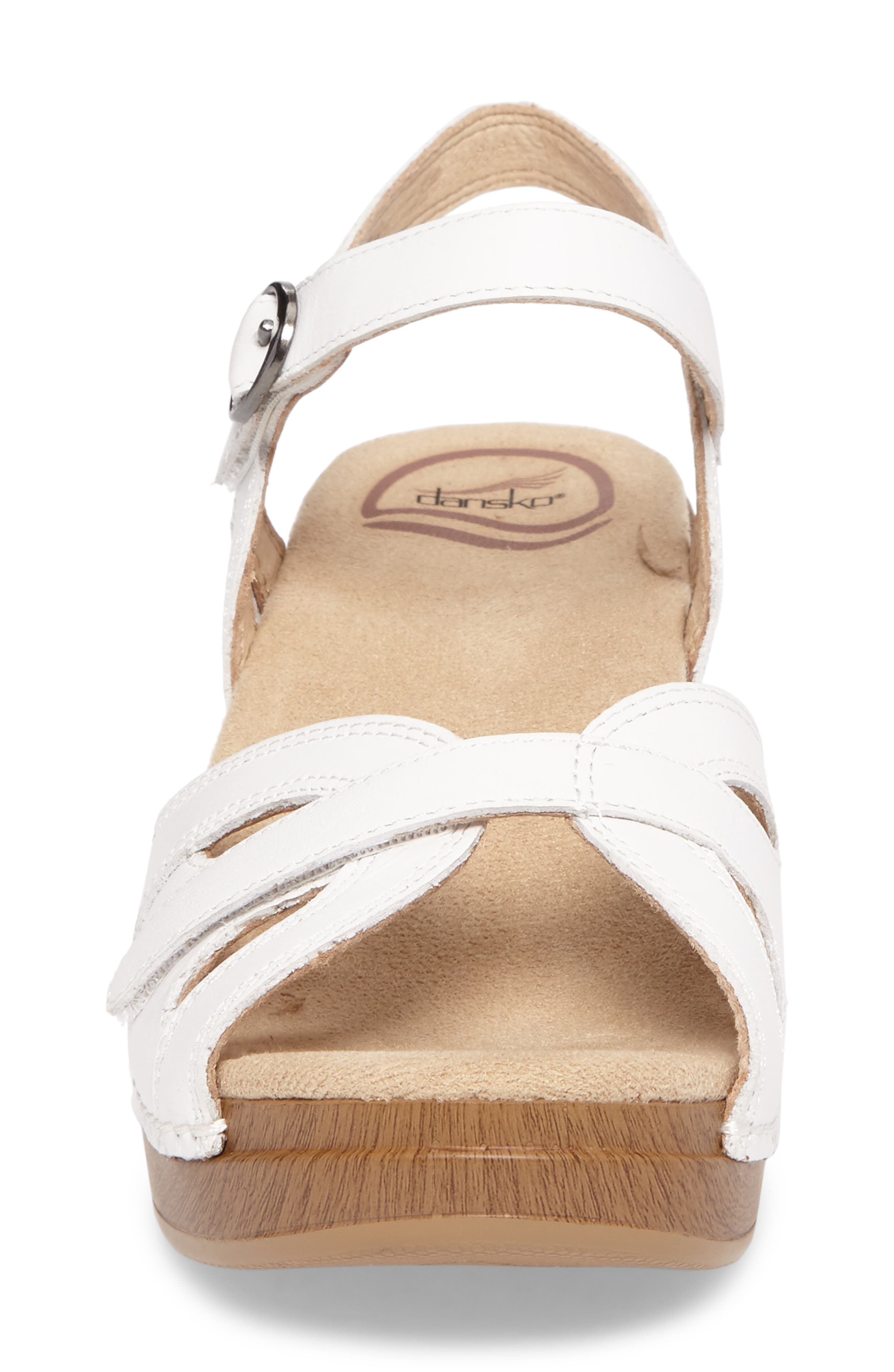 DANSKO, Season Sandal, Alternate thumbnail 4, color, WHITE LEATHER