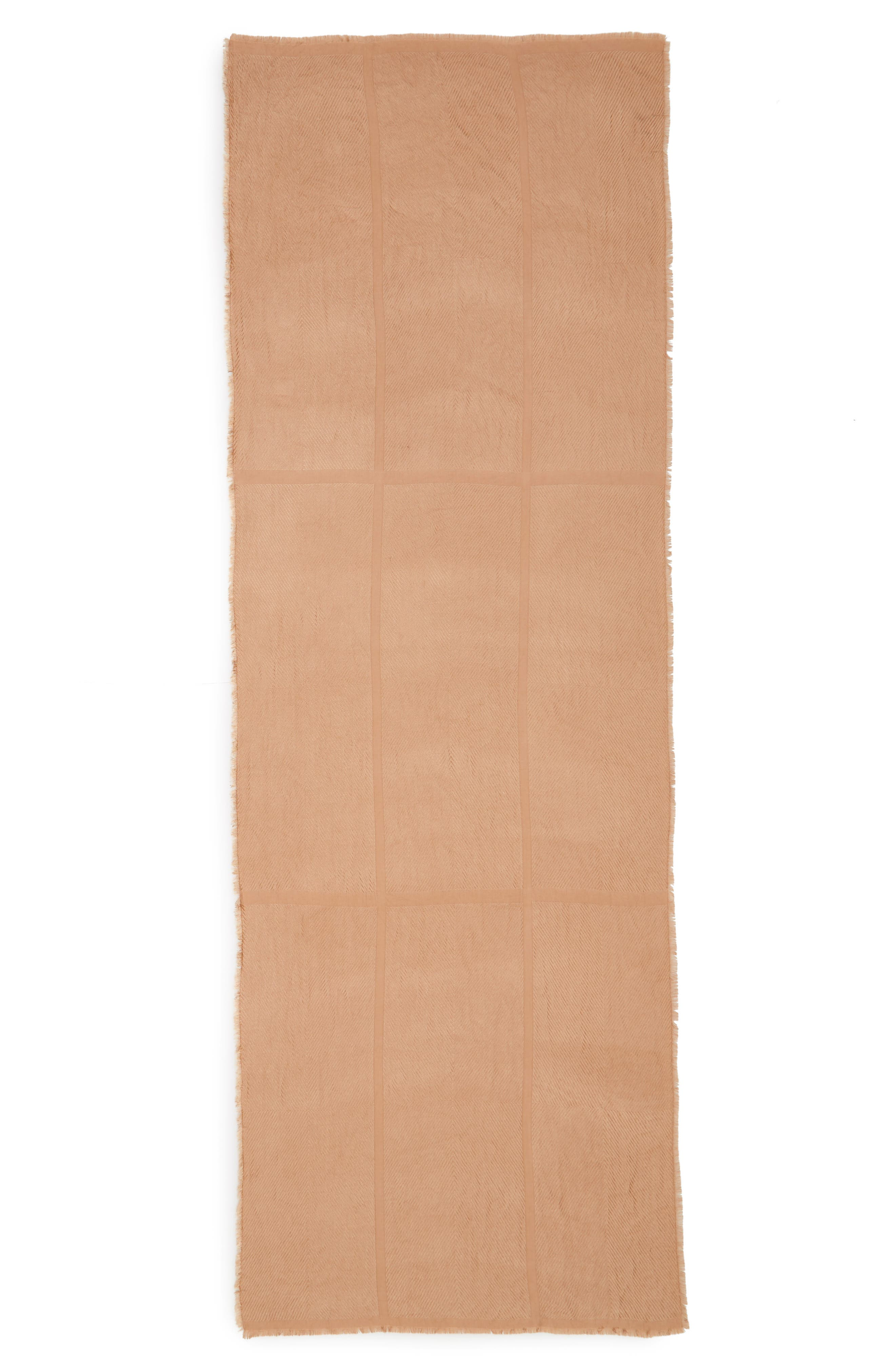 SOLE SOCIETY, Raw Edge Scarf, Alternate thumbnail 2, color, CAMEL