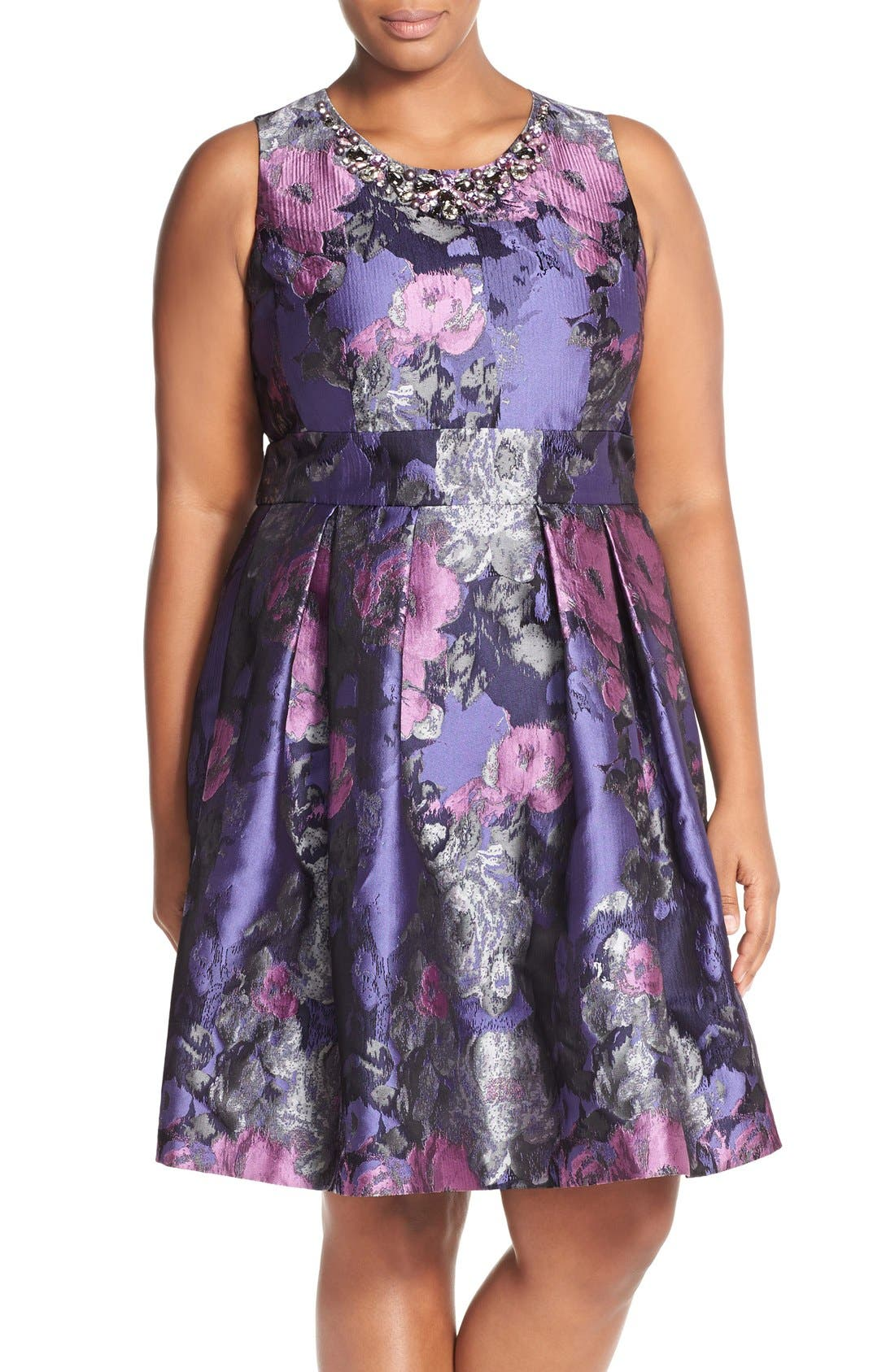 ELIZA J, Embellished Neck Metallic Jacquard Fit & Flare Dress, Main thumbnail 1, color, 523
