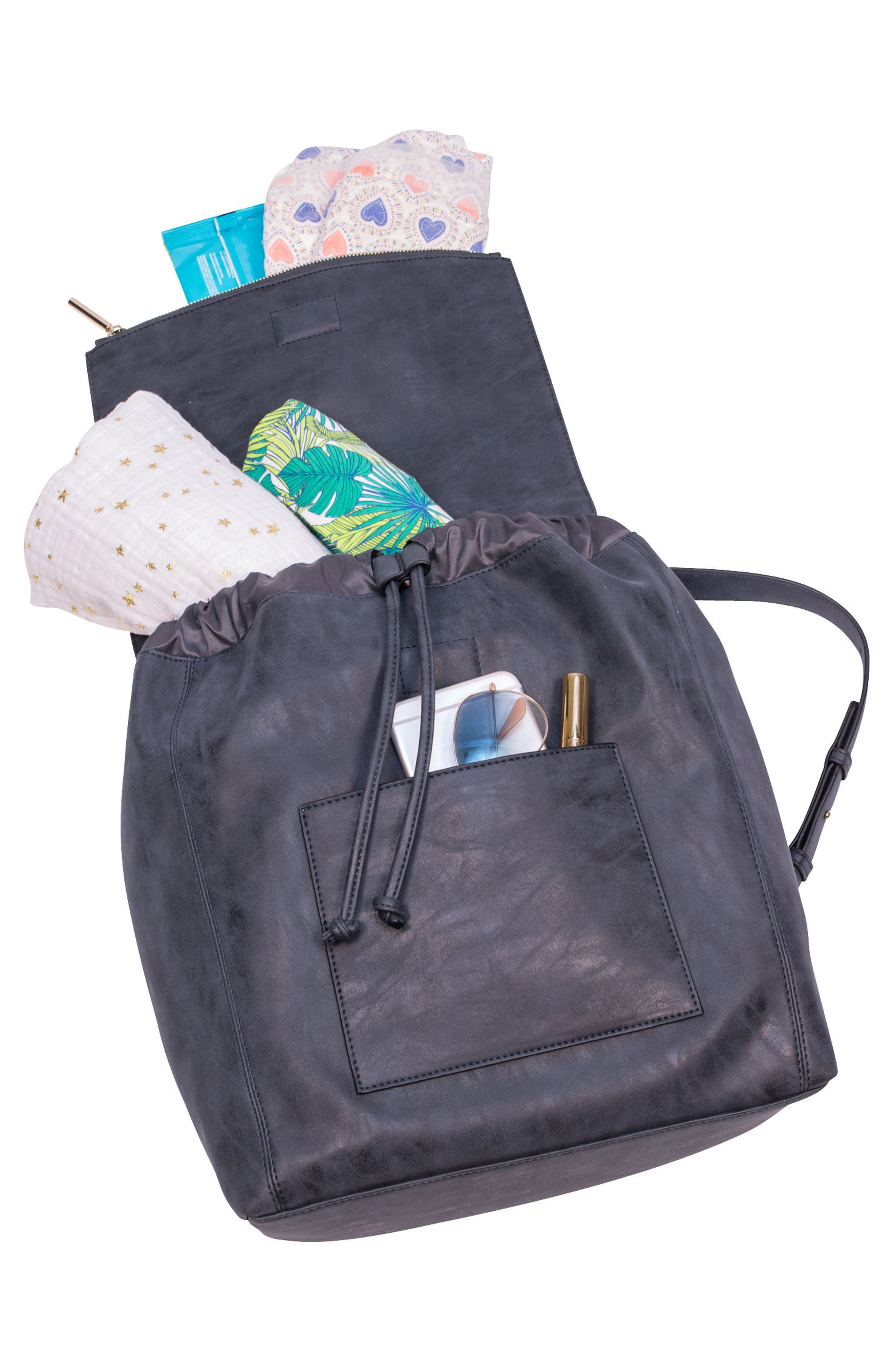 ROSIE POPE, Highbury Hill Diaper Backpack, Alternate thumbnail 2, color, DUSTY NAVY