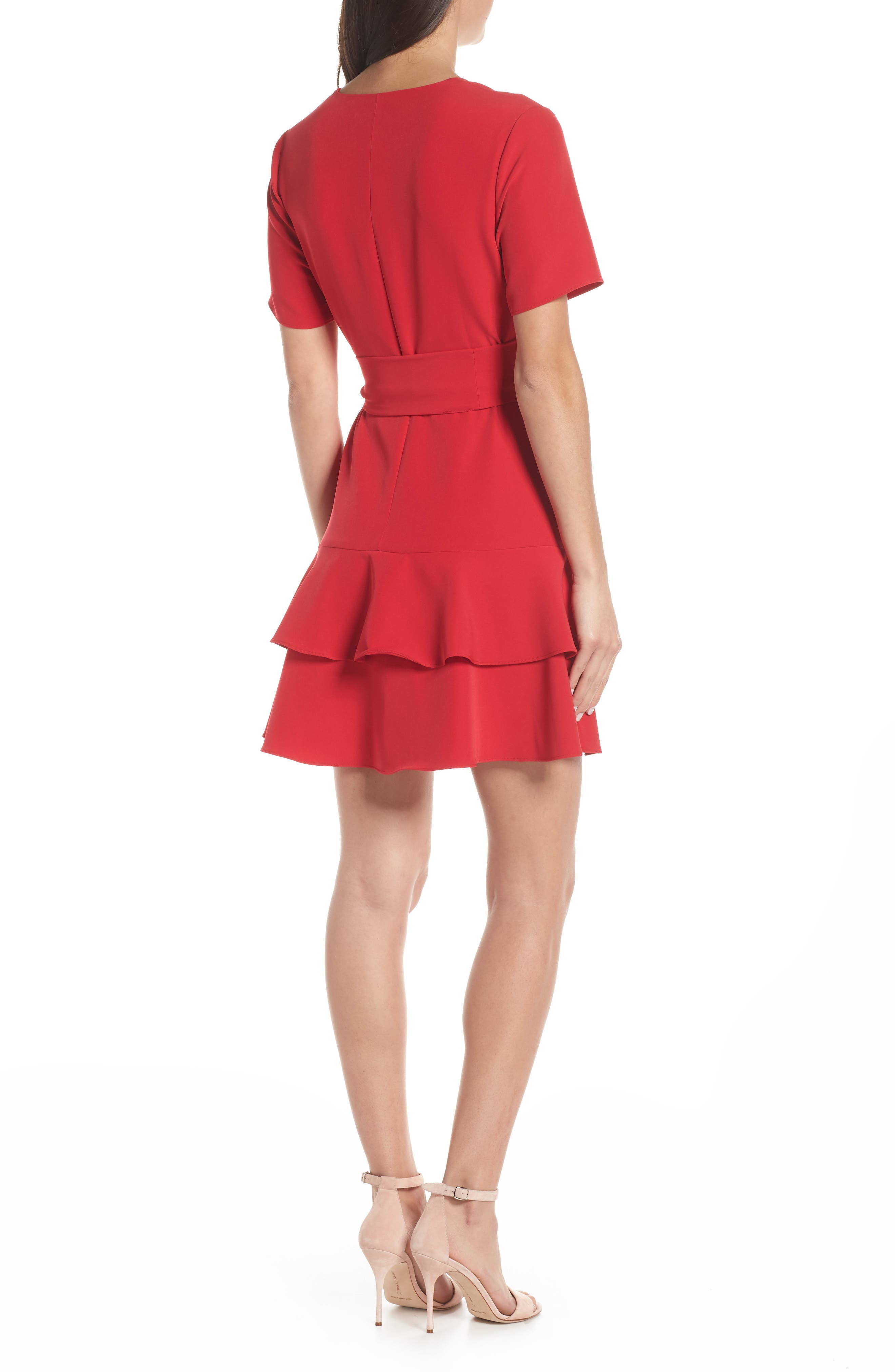 CHARLES HENRY, Ruffle Tiered Wrap Dress, Alternate thumbnail 2, color, SCARLET