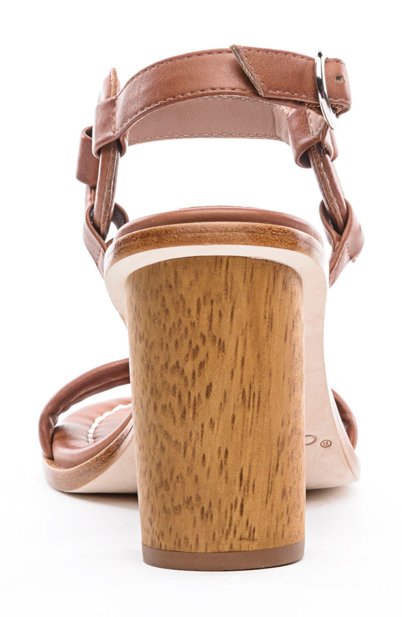 BERNARDO, Harlow Ankle Strap Sandal, Alternate thumbnail 7, color, LUGGAGE LEATHER