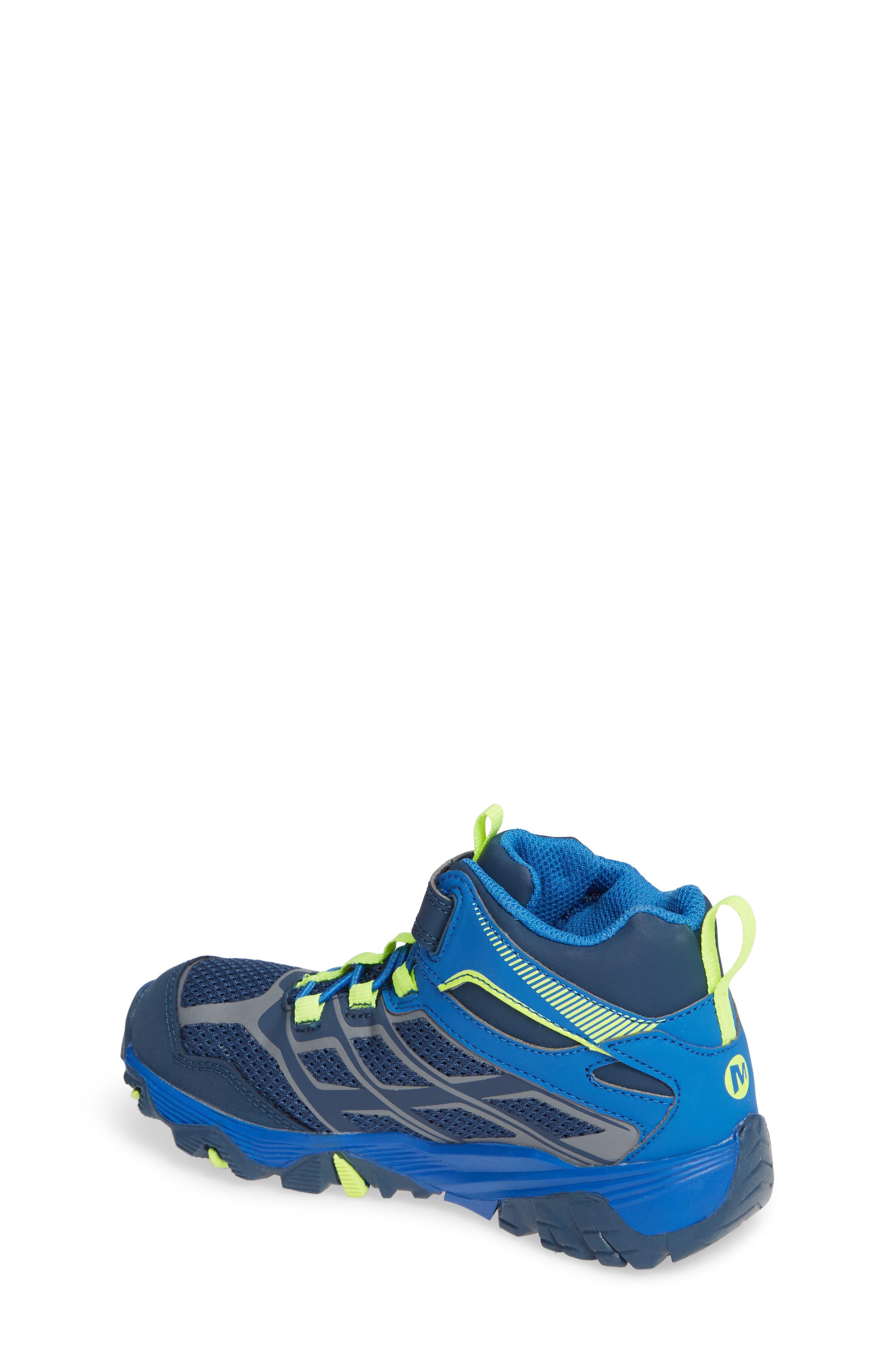 MERRELL, Moab FST Mid Top Waterproof Sneaker Boot, Alternate thumbnail 2, color, NAVY/ COBALT