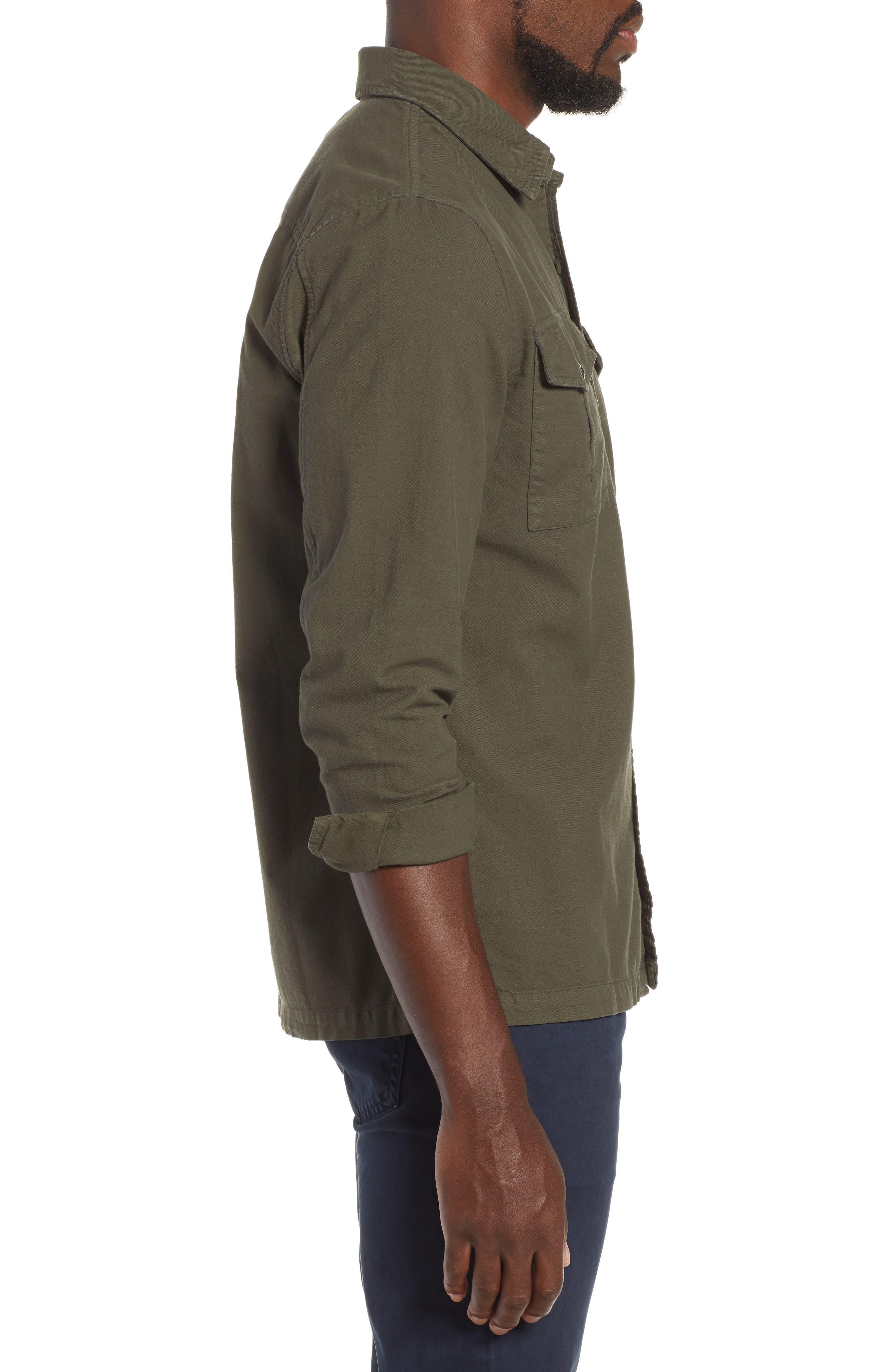 AG, Pioneer Tri-Pocket Long Sleeve Slim Fit Sport Shirt, Alternate thumbnail 4, color, SULFUR OAK GROVE