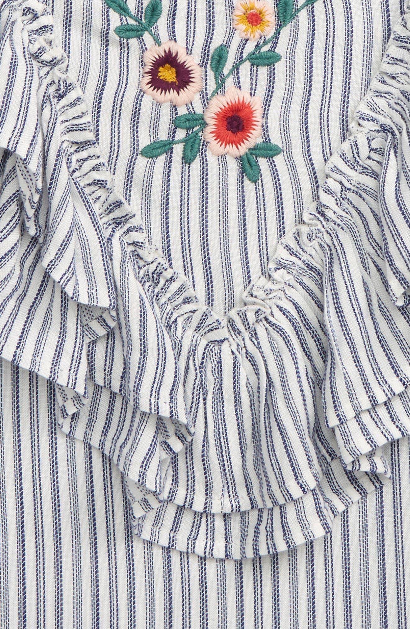 TUCKER + TATE, Embroidered Ruffle Tank, Alternate thumbnail 2, color, WHITE- BLUE STRIPE