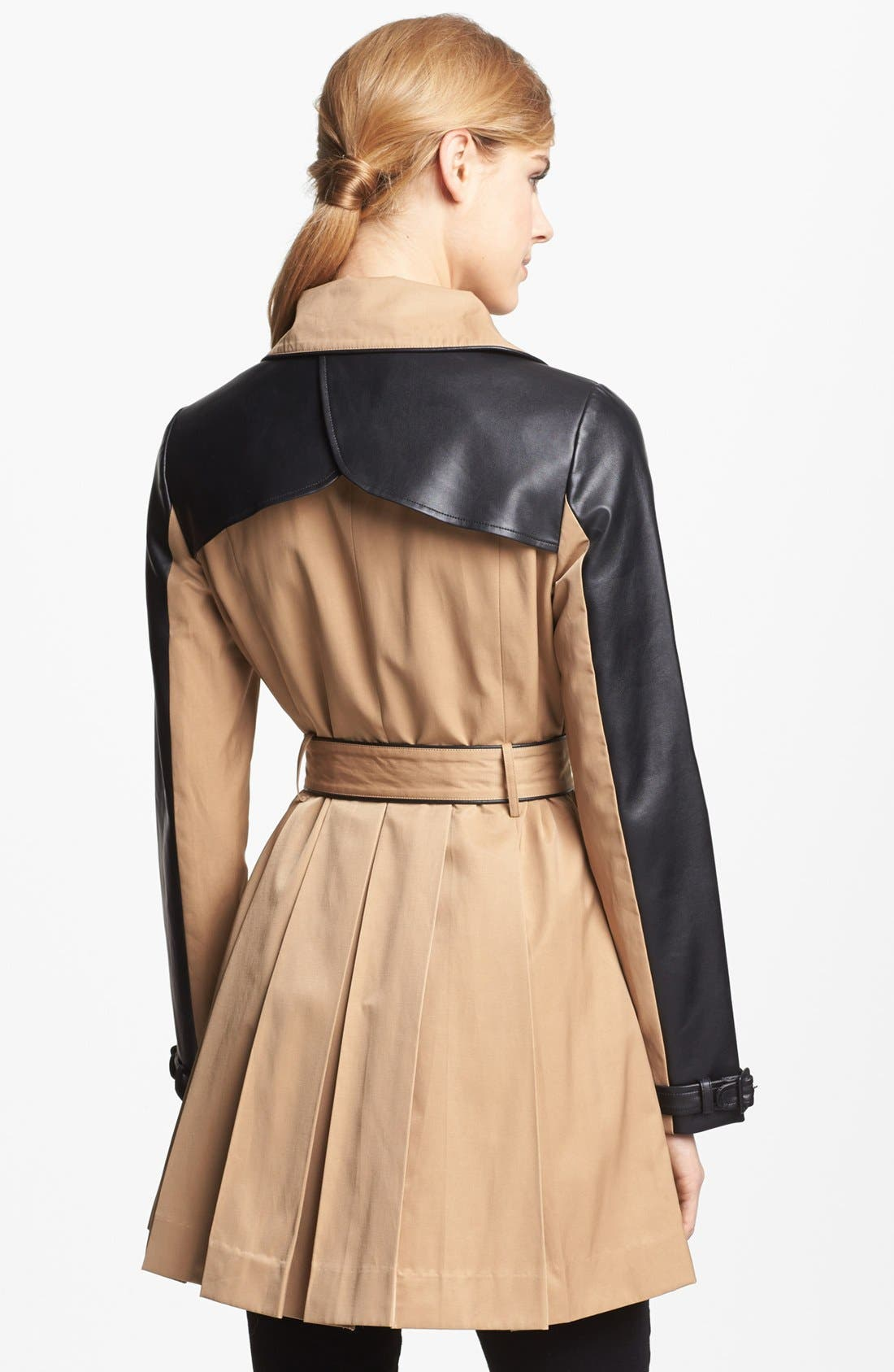BEBE, Faux Leather Trim Trench Coat, Alternate thumbnail 2, color, 250