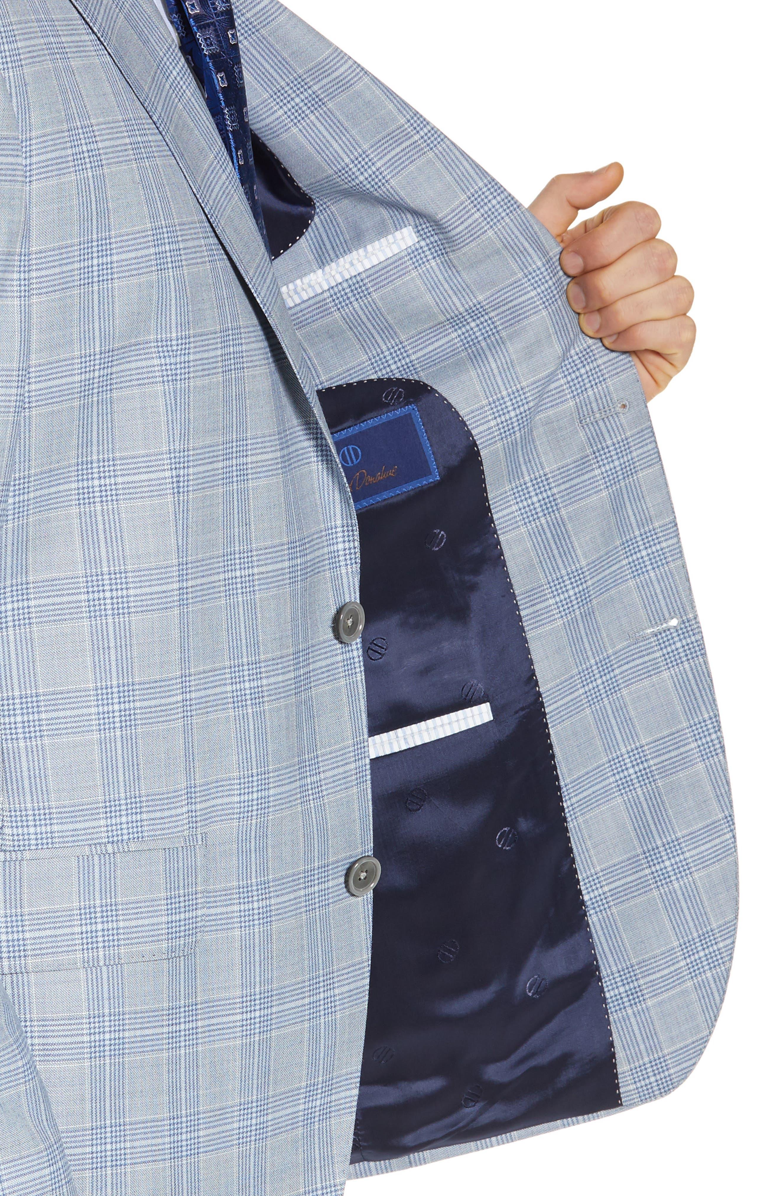 DAVID DONAHUE, Arnold Classic Fit Plaid Wool Sport Coat, Alternate thumbnail 4, color, BLUE