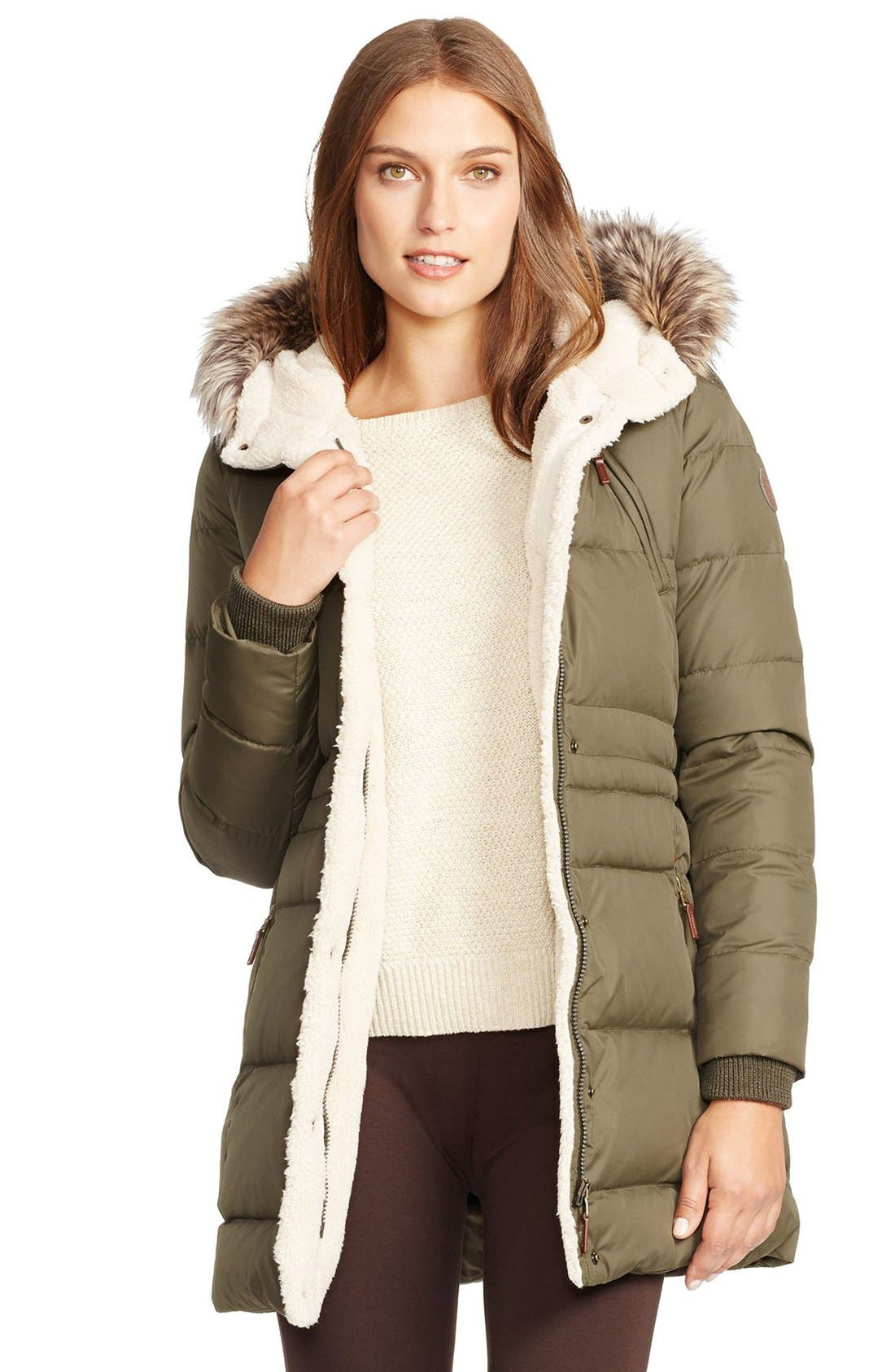 LAUREN RALPH LAUREN, Faux Fur Trim Down & Feather Fill Parka, Main thumbnail 1, color, 313