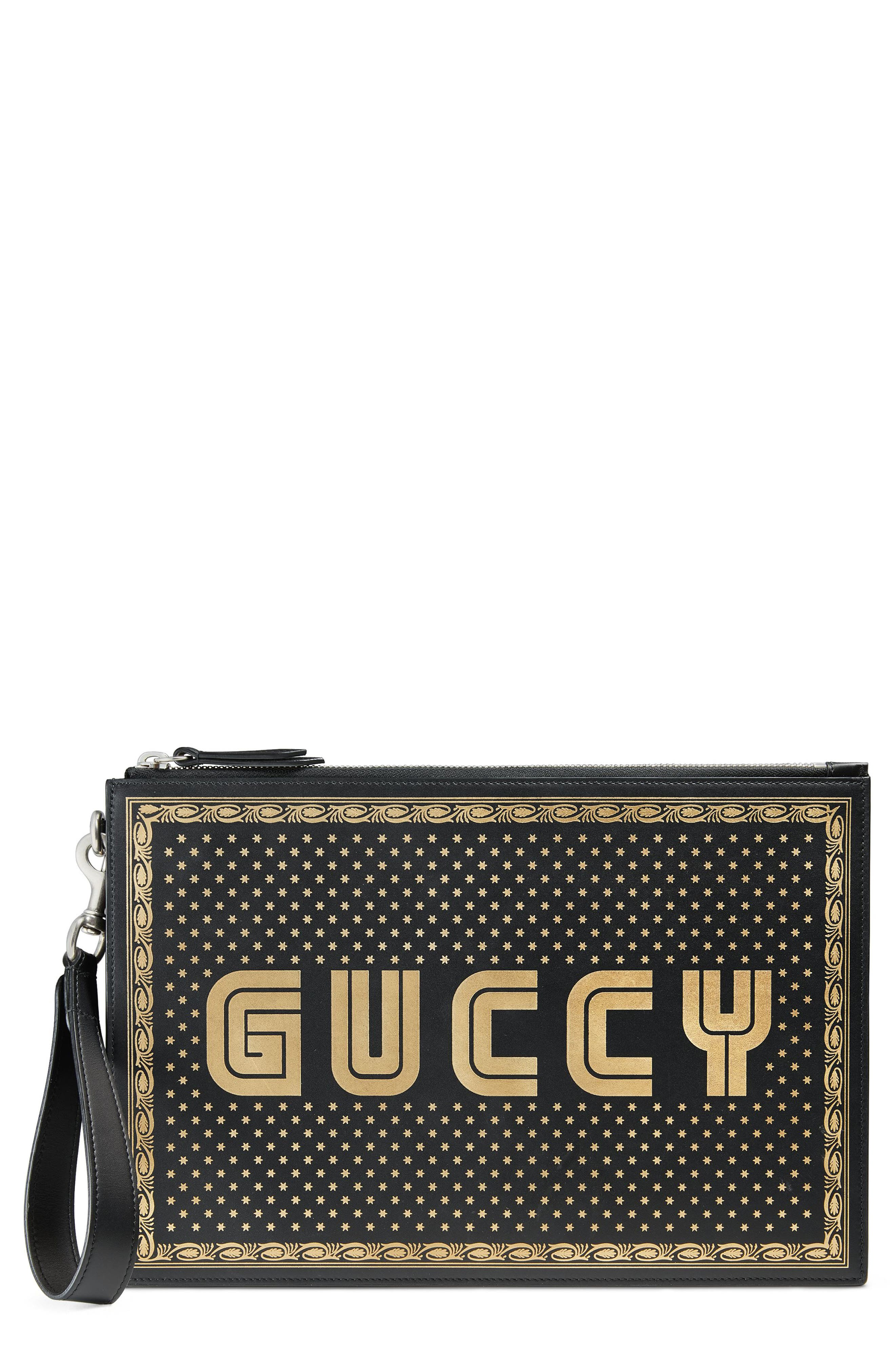 GUCCI, Guccy Moon & Stars Leather Zip Pouch, Main thumbnail 1, color, NERO/ ORO