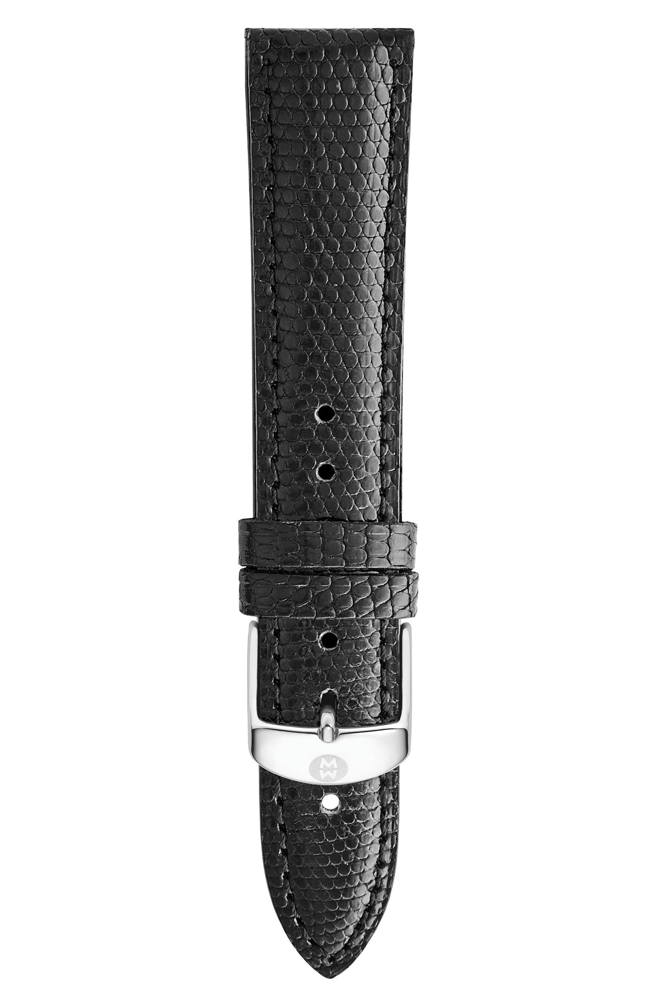 MICHELE, 18mm Leather Watch Strap, Main thumbnail 1, color, BLACK
