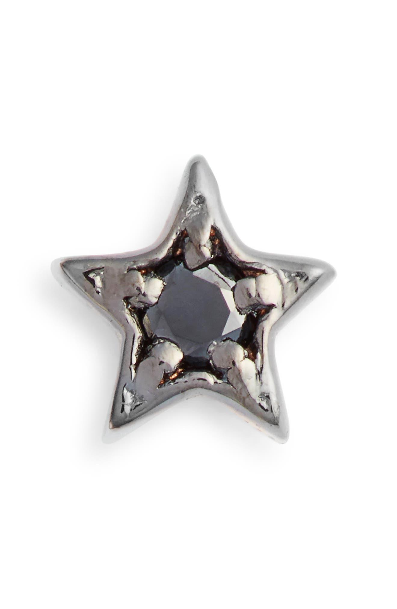 KISMET BY MILKA, Single Diamond Star Stud Earring, Main thumbnail 1, color, BLACK GOLD