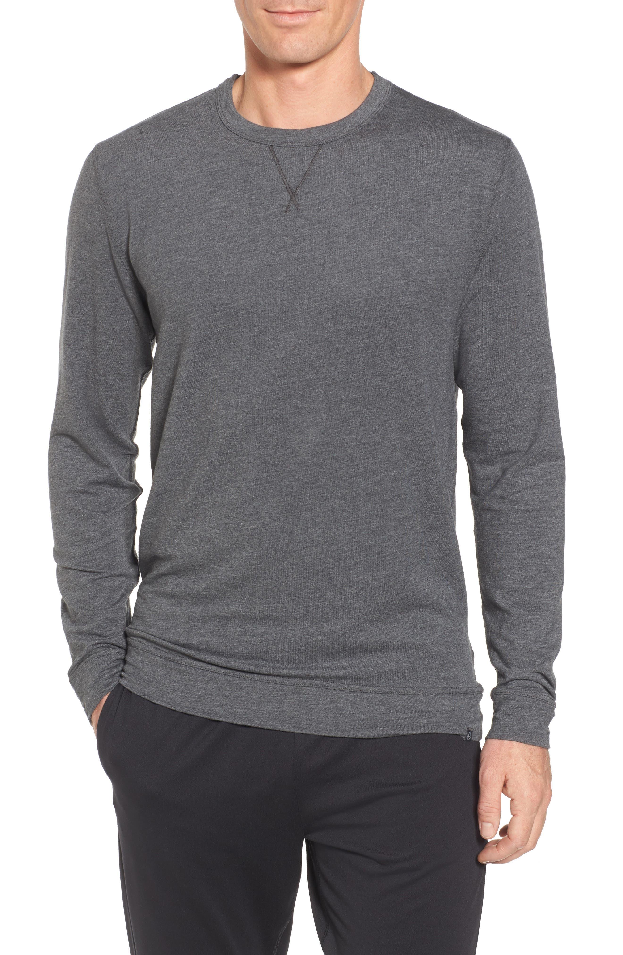 TASC PERFORMANCE, Legacy Crewneck Sweatshirt, Main thumbnail 1, color, BLACK HEATHER