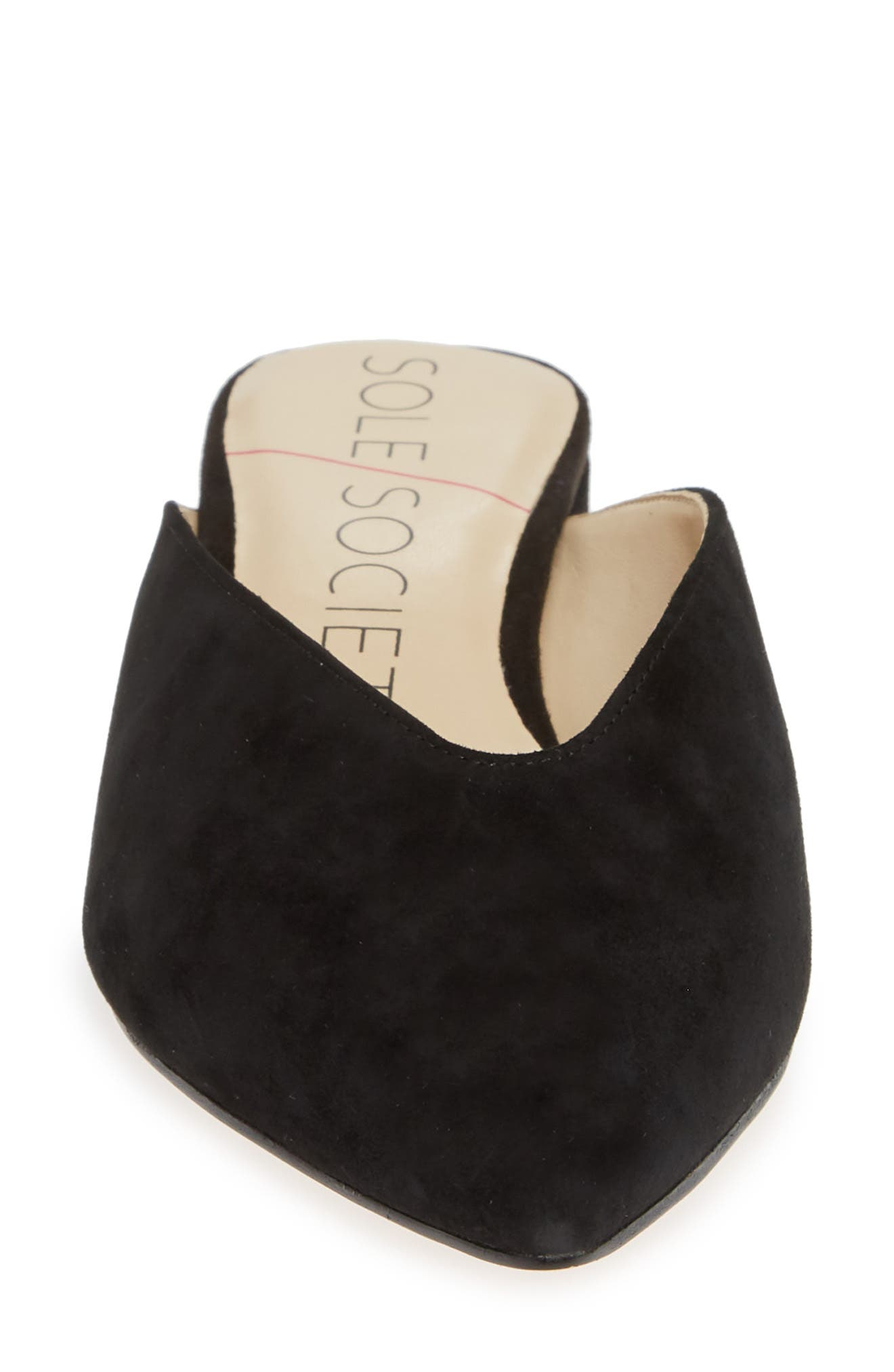 SOLE SOCIETY, Marlessa Mule, Alternate thumbnail 4, color, BLACK SUEDE