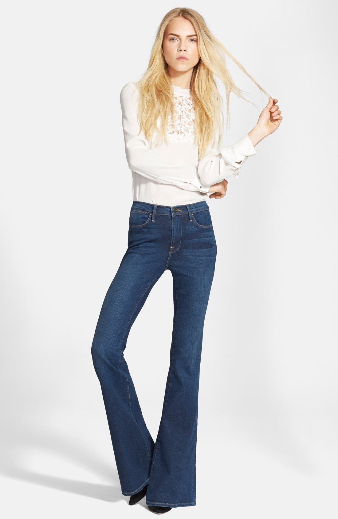 FRAME, Denim 'Le High Flare' Flare Leg Jeans, Alternate thumbnail 3, color, 401