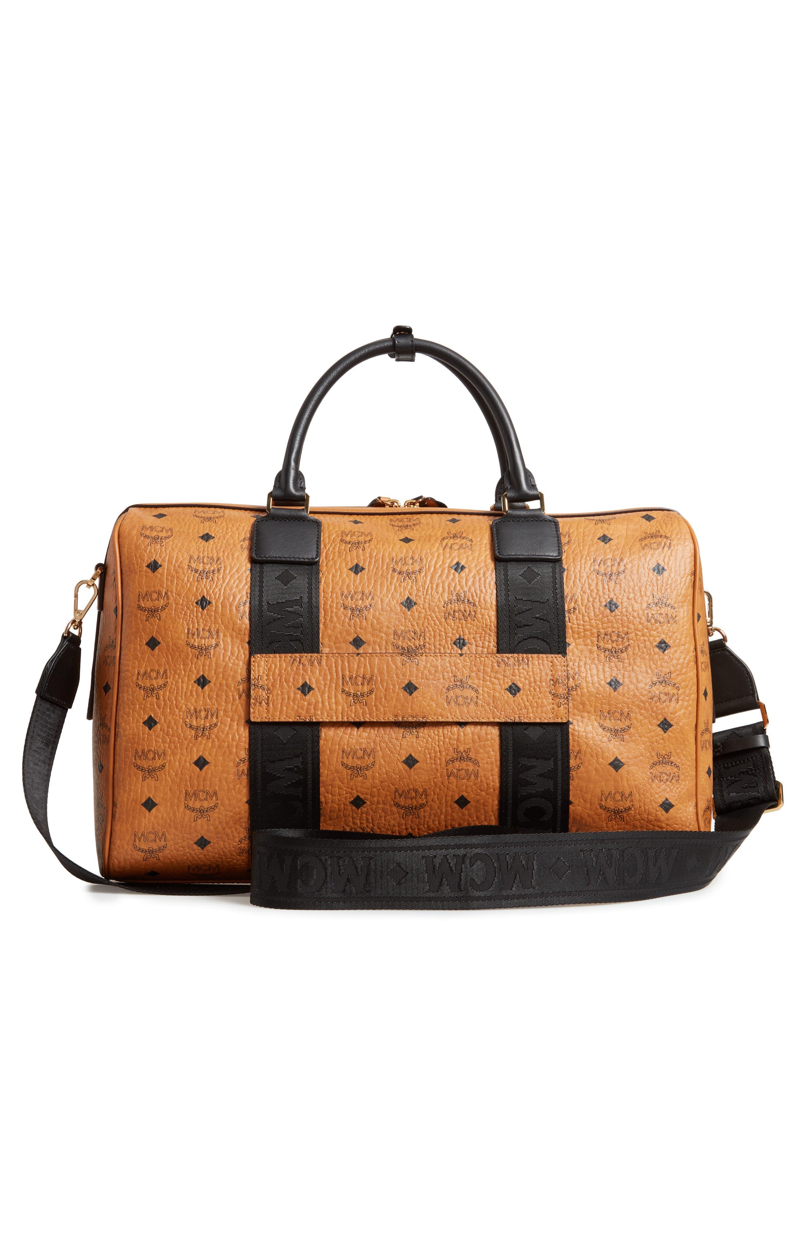 MCM, Traveler Visetos Duffle Bag, Alternate thumbnail 4, color, COGNAC